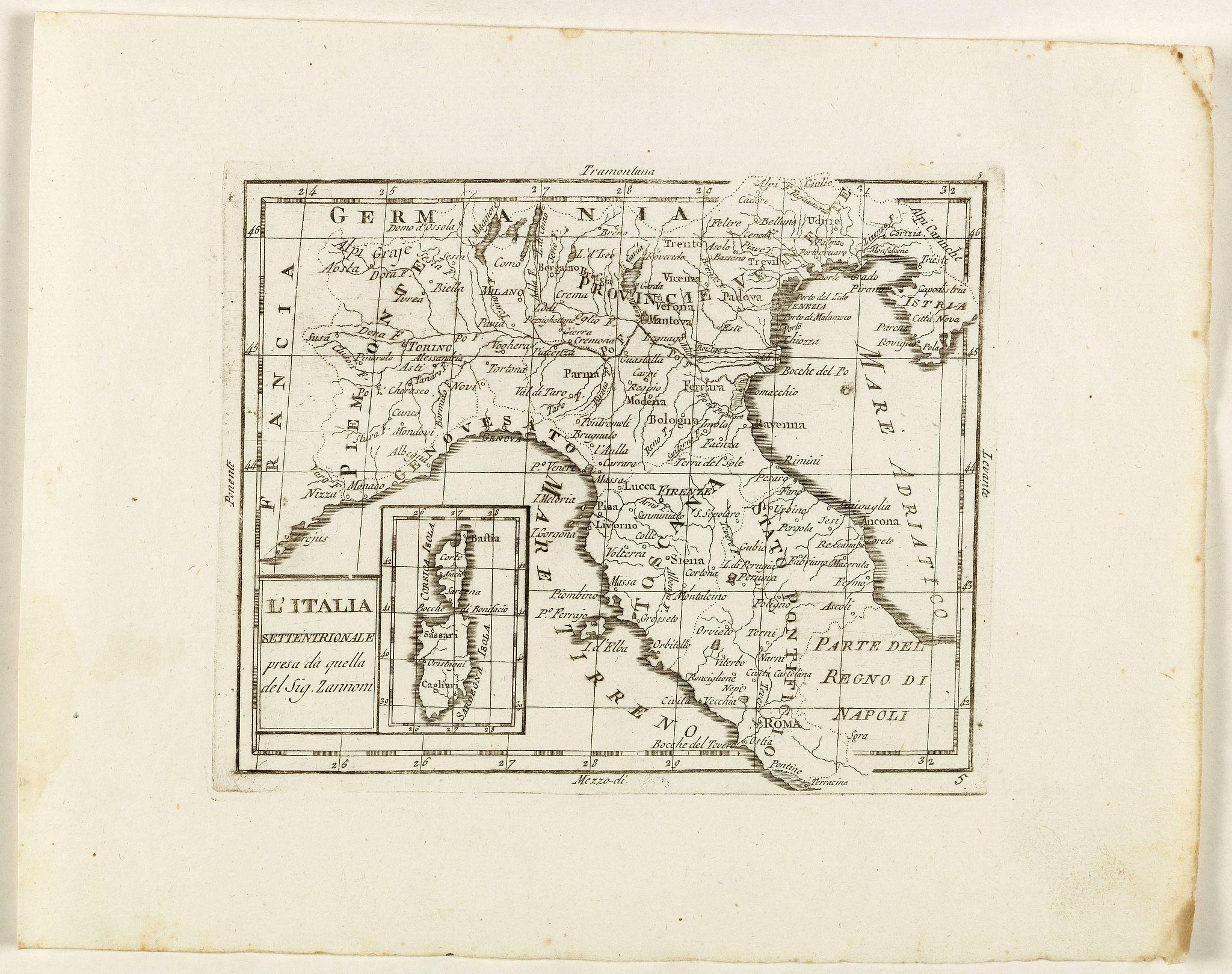 ZEMPEL, G. -  L'Italia Settentrionale presa da quella del Sig. Zannoni.
