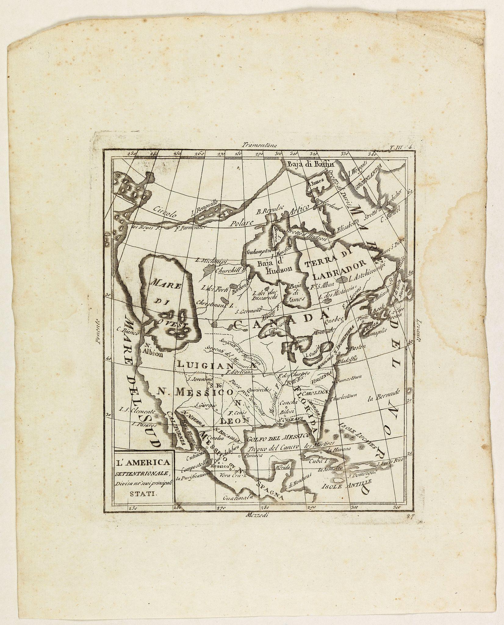 ZEMPEL, G. -  L'America settentrionale divisa ne' suoi principali stati.