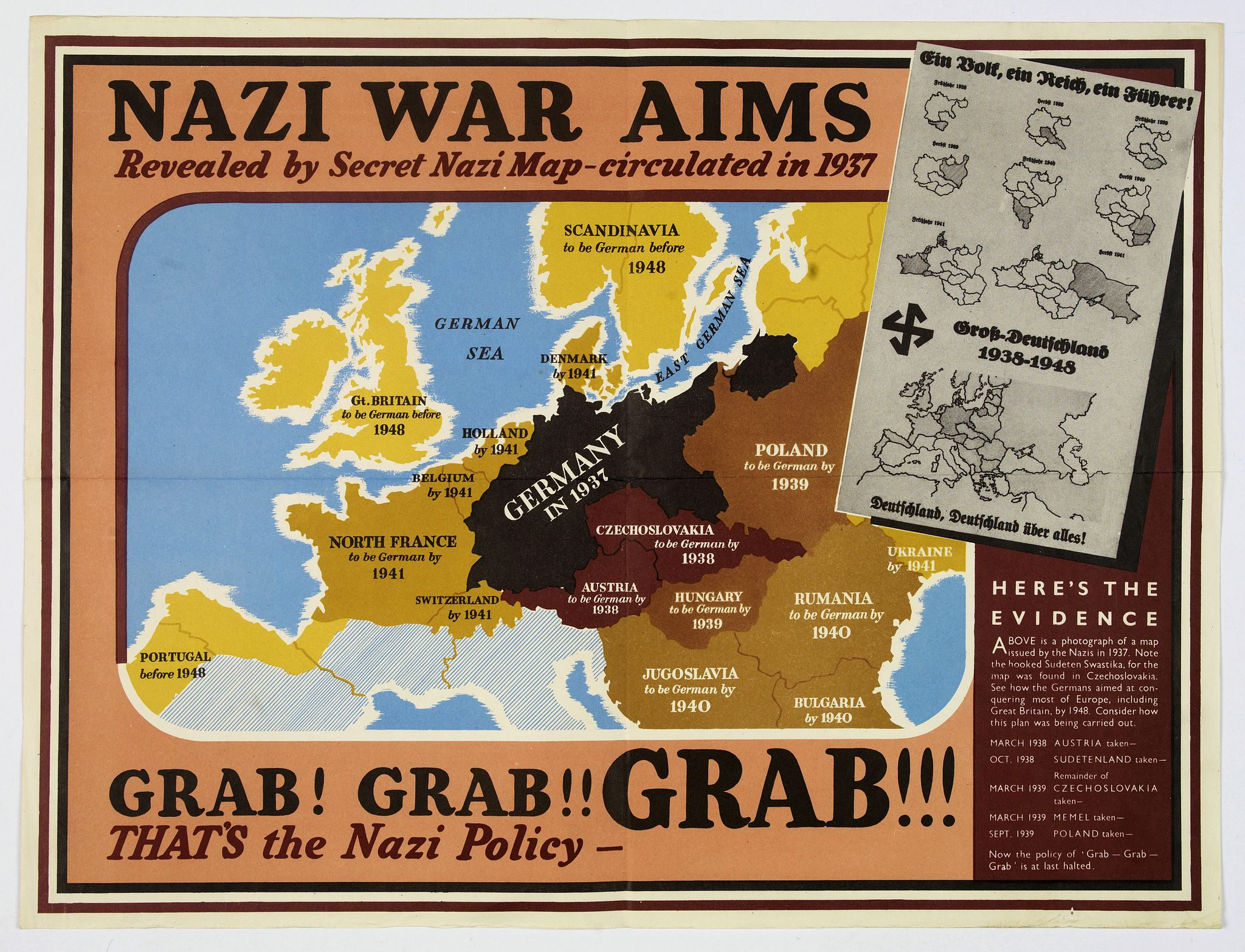 ANONYMOUS, Nazi War Aims. . ., antique map, old maps