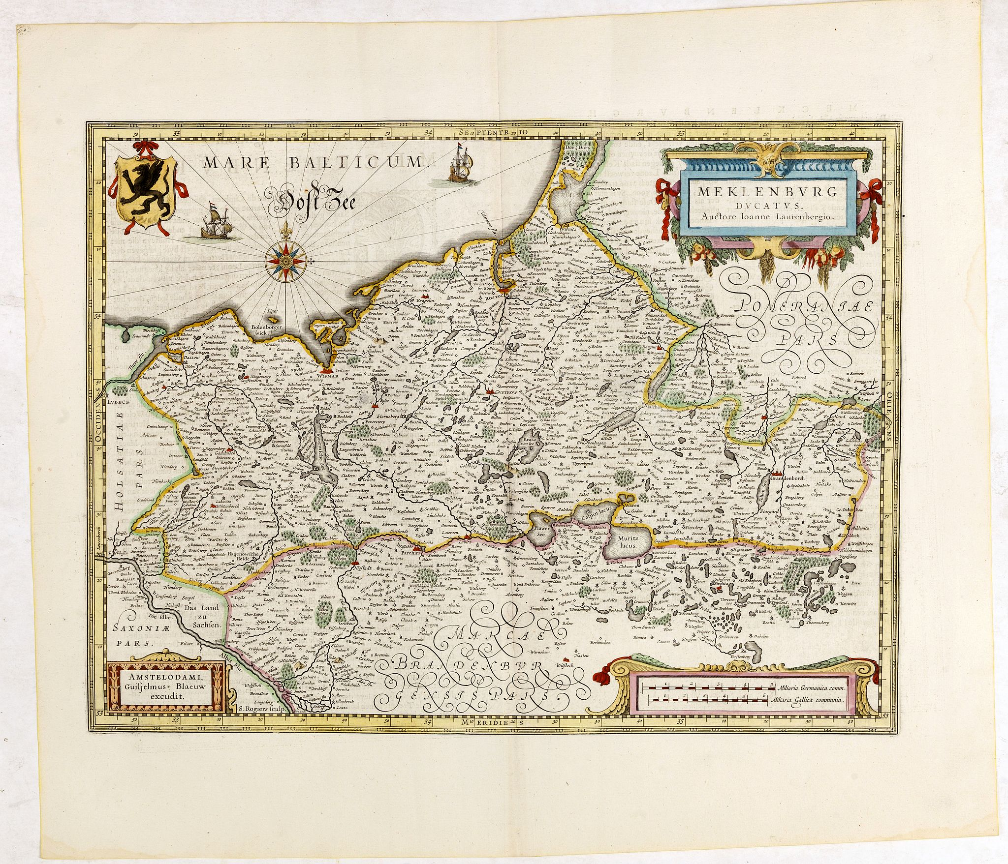 BLAEU, W.,  Meklenburg Ducatus…, antique map, old maps
