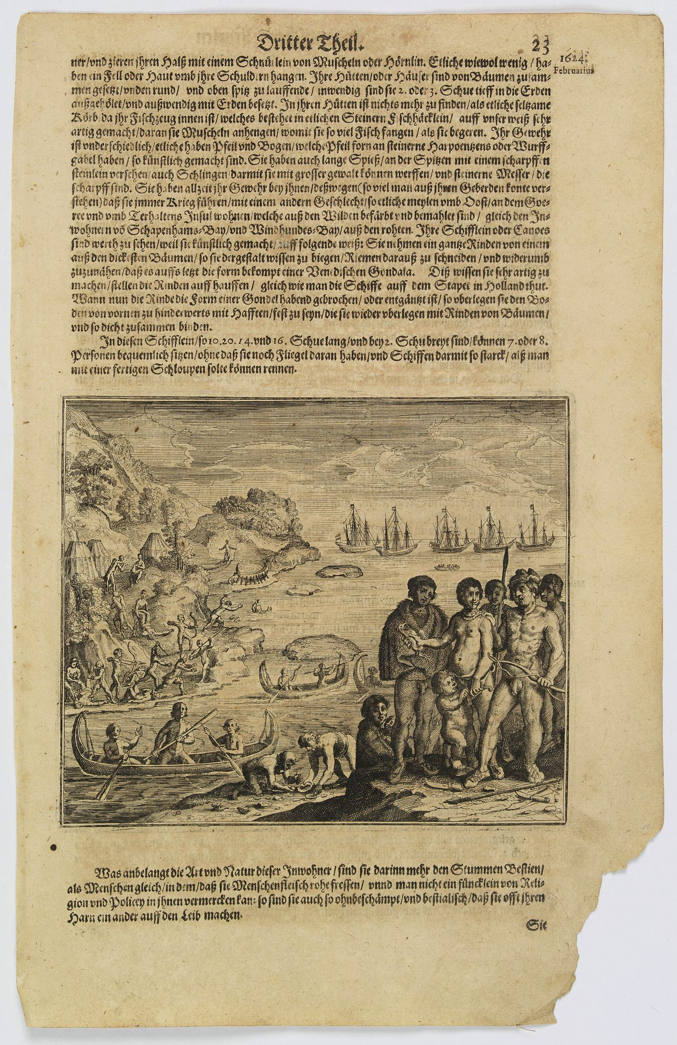 GOTTFRIED, J.L. / DE BRY. -  (Native population of Tierra del Fuego attacking some Dutchmen)