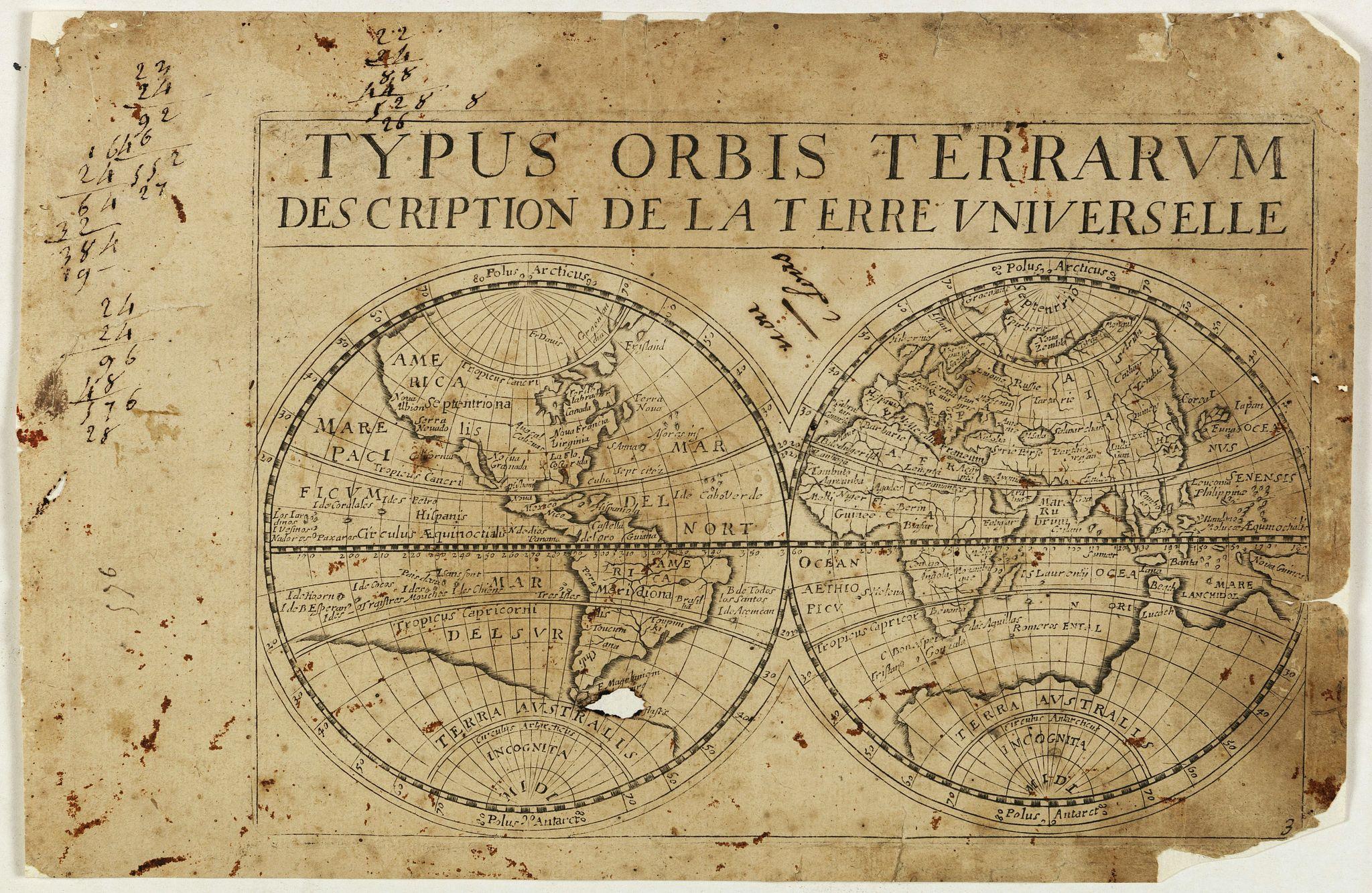 JOLLAIN, G. -  Typus orbis Terrarum description de la Terre universelle.