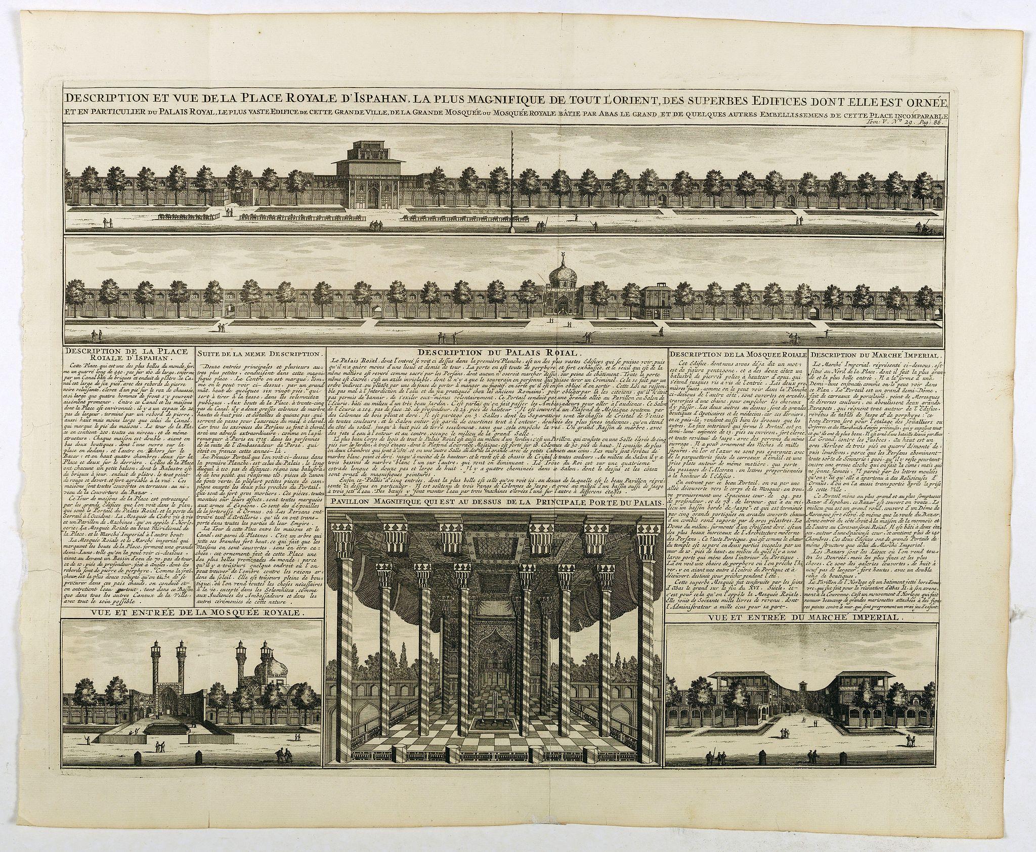 CHATELAIN, H. -  Description te vue de la Place d'Ispahan . . .