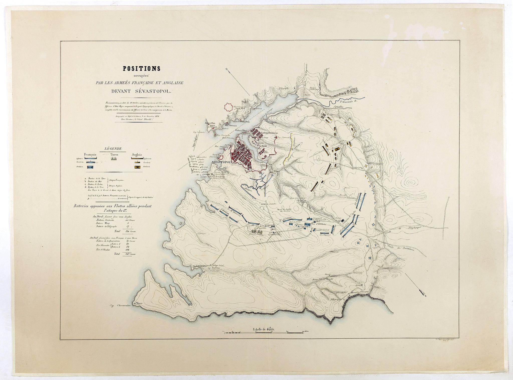 DEPOT DE LA GUERRE. -  Positions occupées par les armées françaises et anglaises devant Sevastopol.