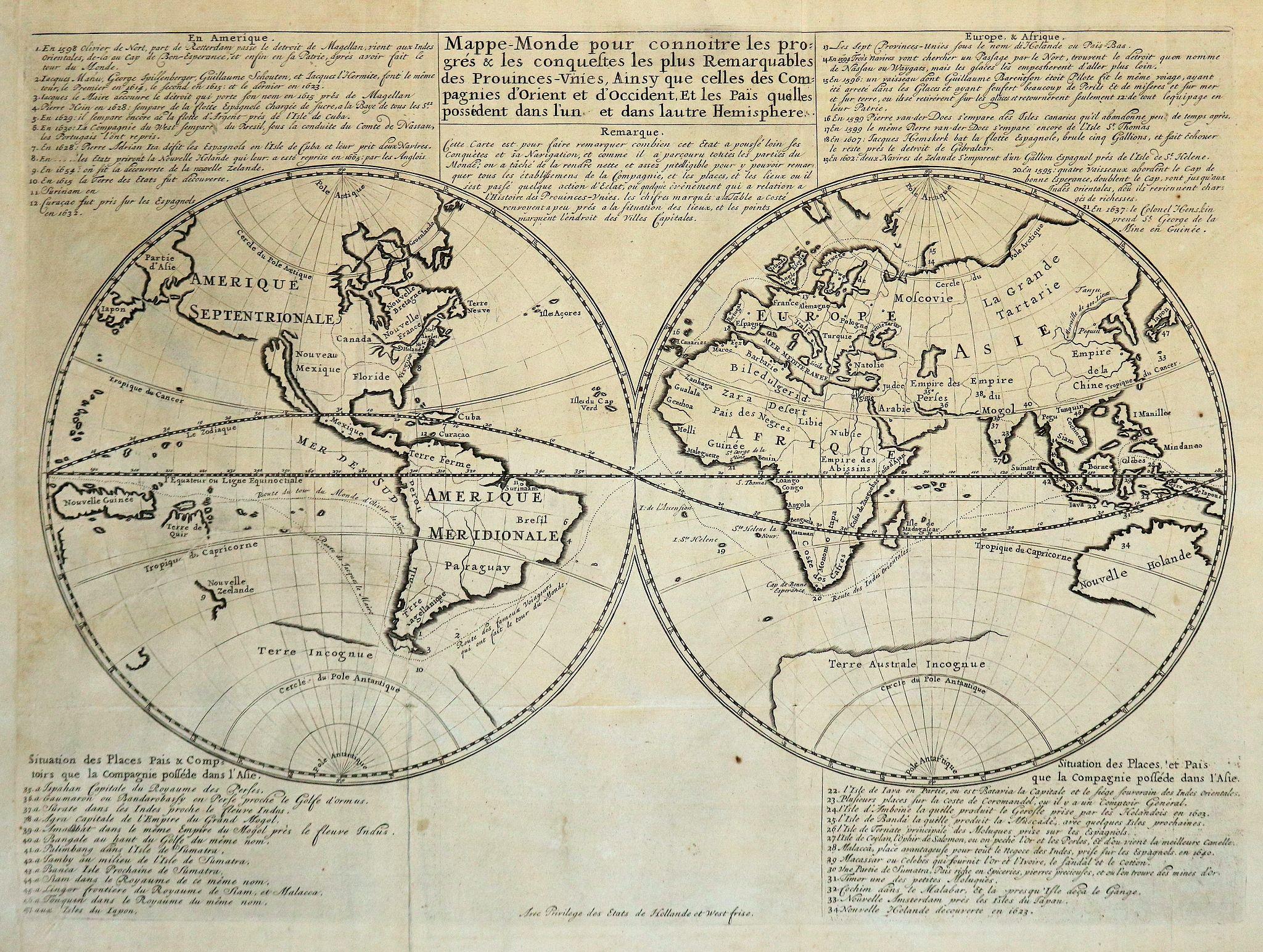 MALHERBE, J. - Mappe Monde pour connaitre les progrès et les conquestes les plus Remarquables des Provinces-Unies