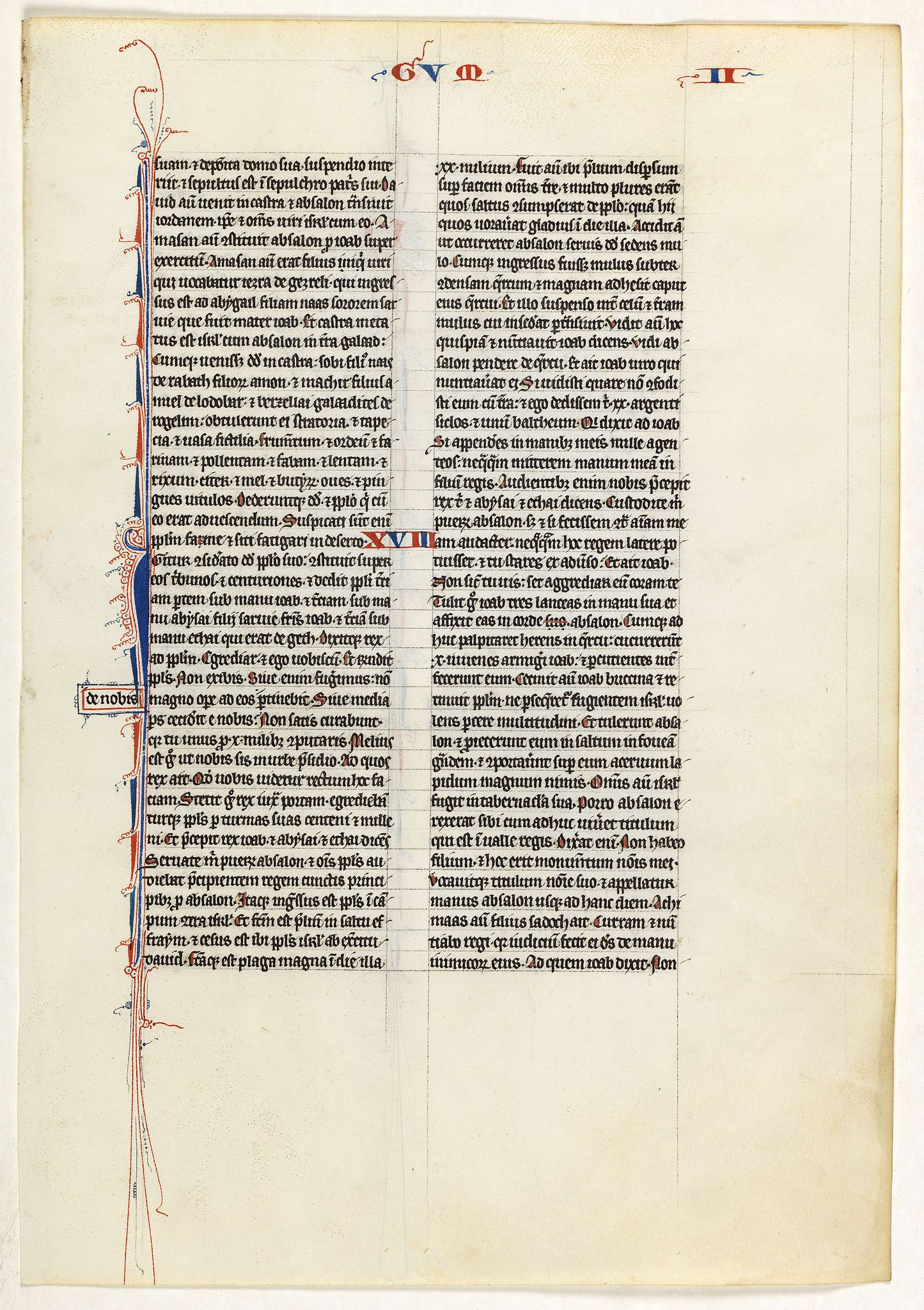 BIBLE,  Leaf on vellum from a 13th century manuscript Bible, antique map, old maps