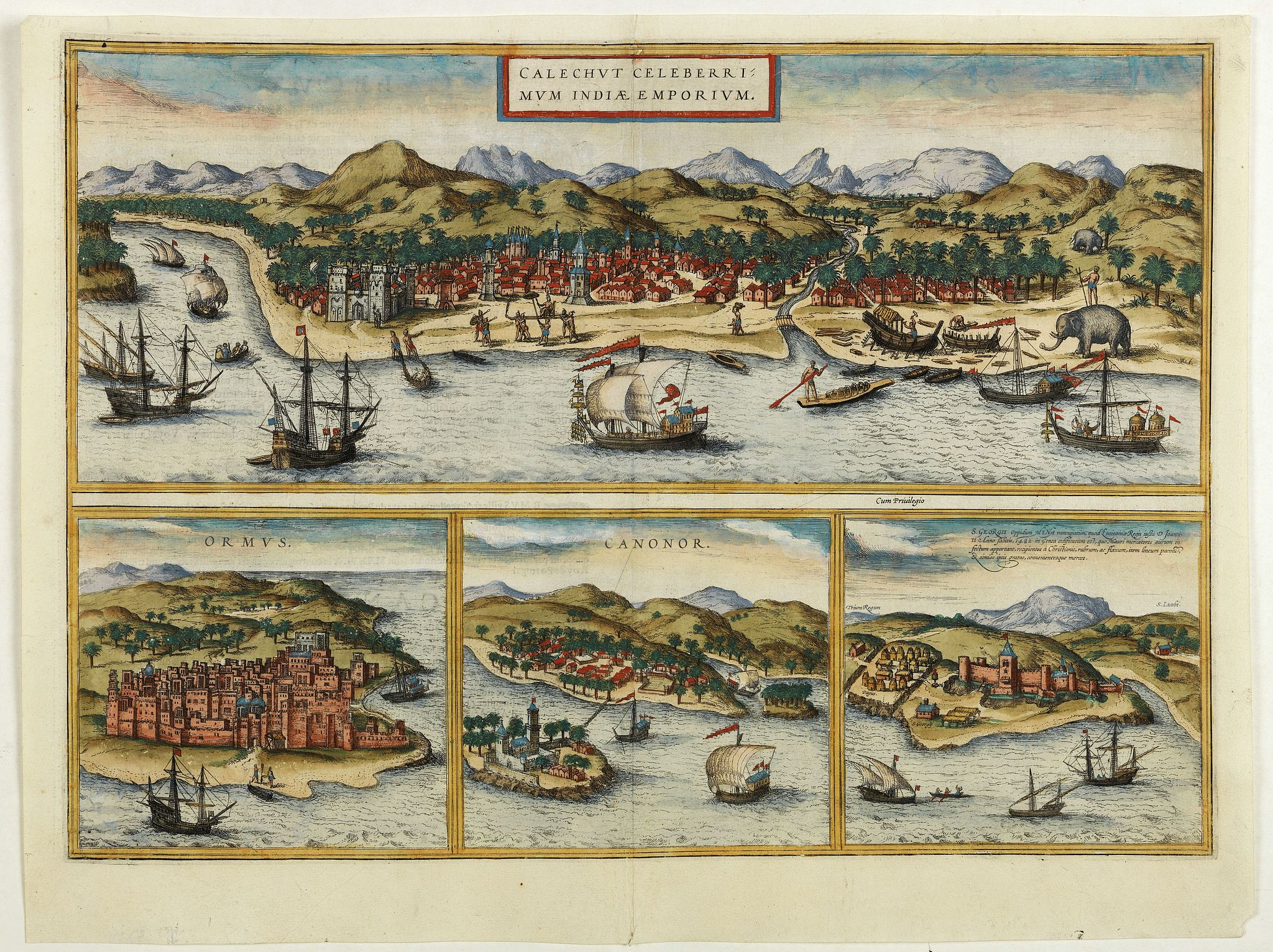 BRAUN,G. / HOGENBERG, F. -  Calechut Celeberrimum Indiae Emporium [on sheet with] Ormus [and] Canonor [and] S. Georgii Oppidum Mina.