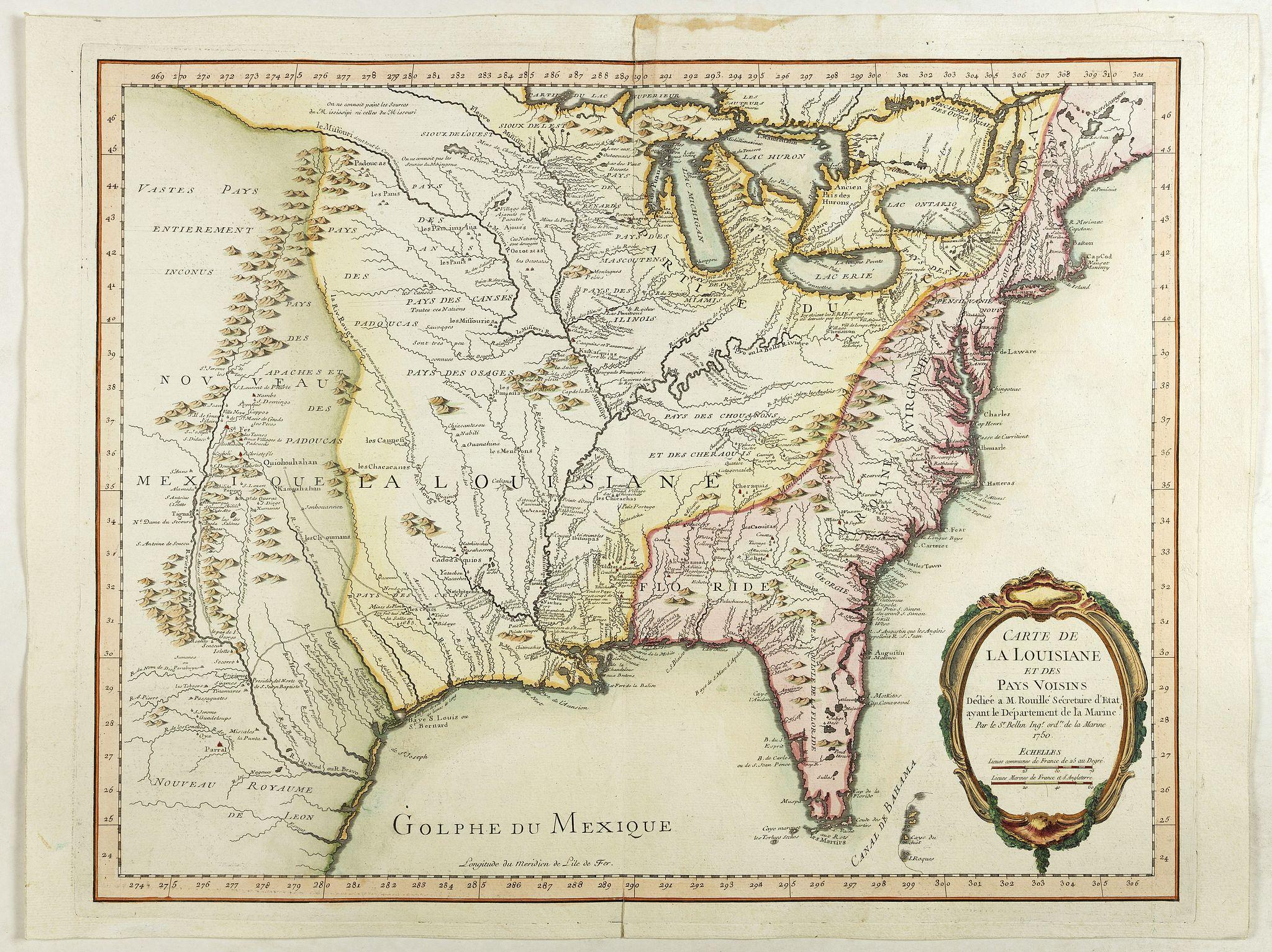 BELLIN, J.N. -  Carte de LA LOUISIANE et des PAYS VOISINS Dédiée a M. Rouillé Dediee a M. Rouille Secretairr 'd Etat ayant le Departement de la Marine… 1750