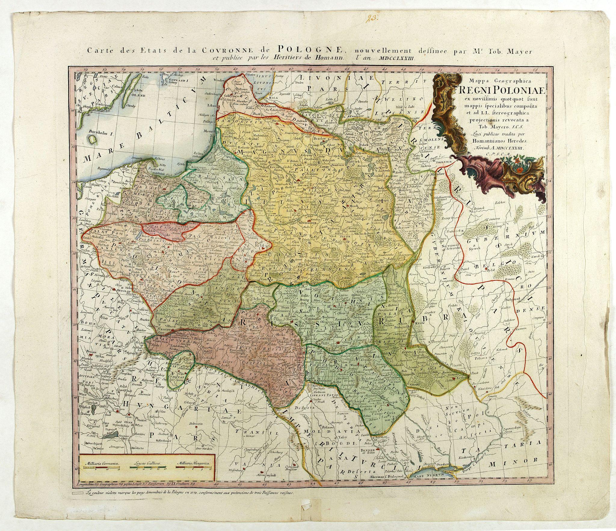 HOMANN HEIRS. -  Mappa Geographica Regni Poloniae ex novissimis quot quot sunt mappis. . .