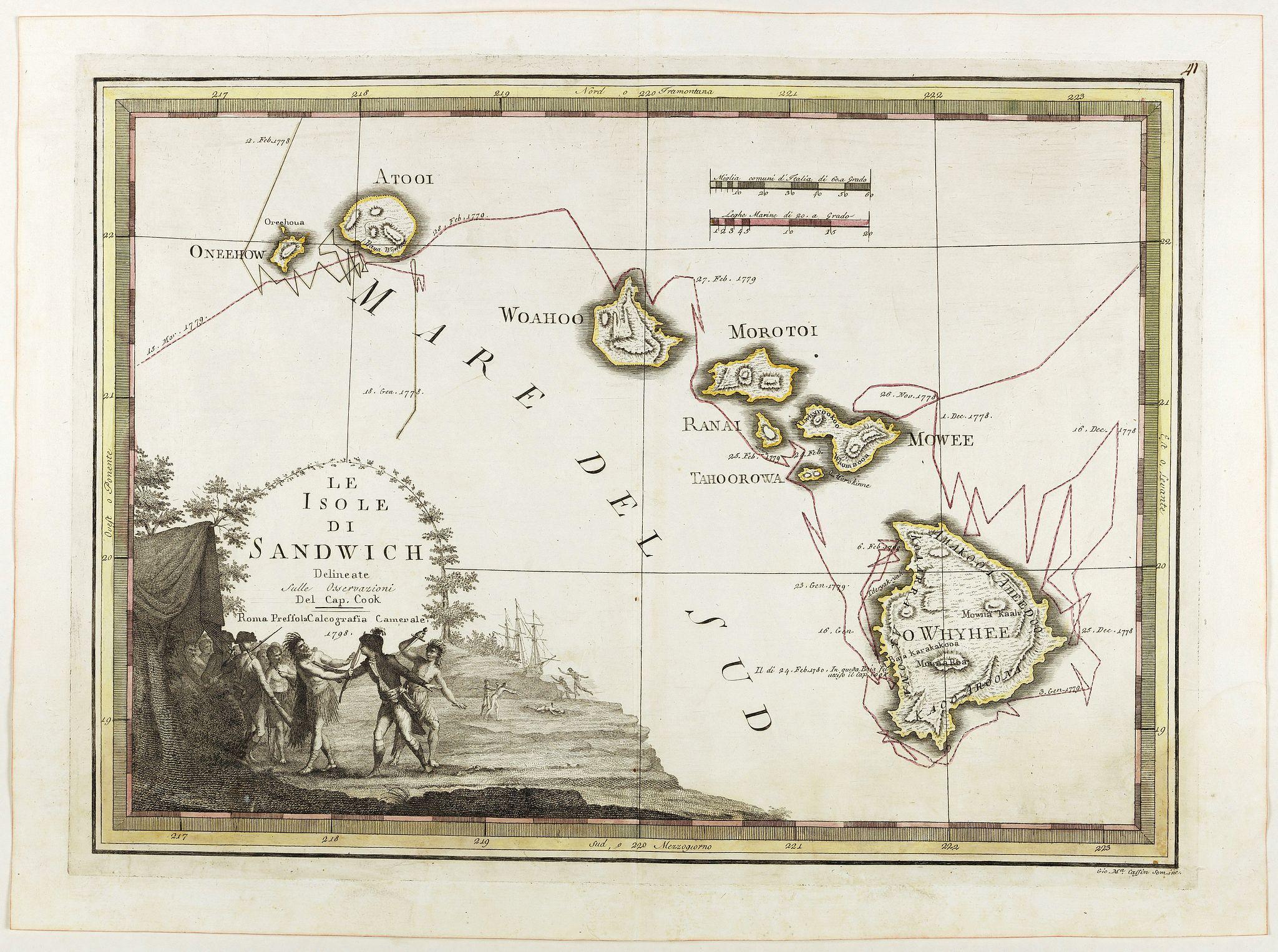 CASSINI, G.M. -  Le Isole di Sandwich delineate sulle osservazioni del Cap Cook.