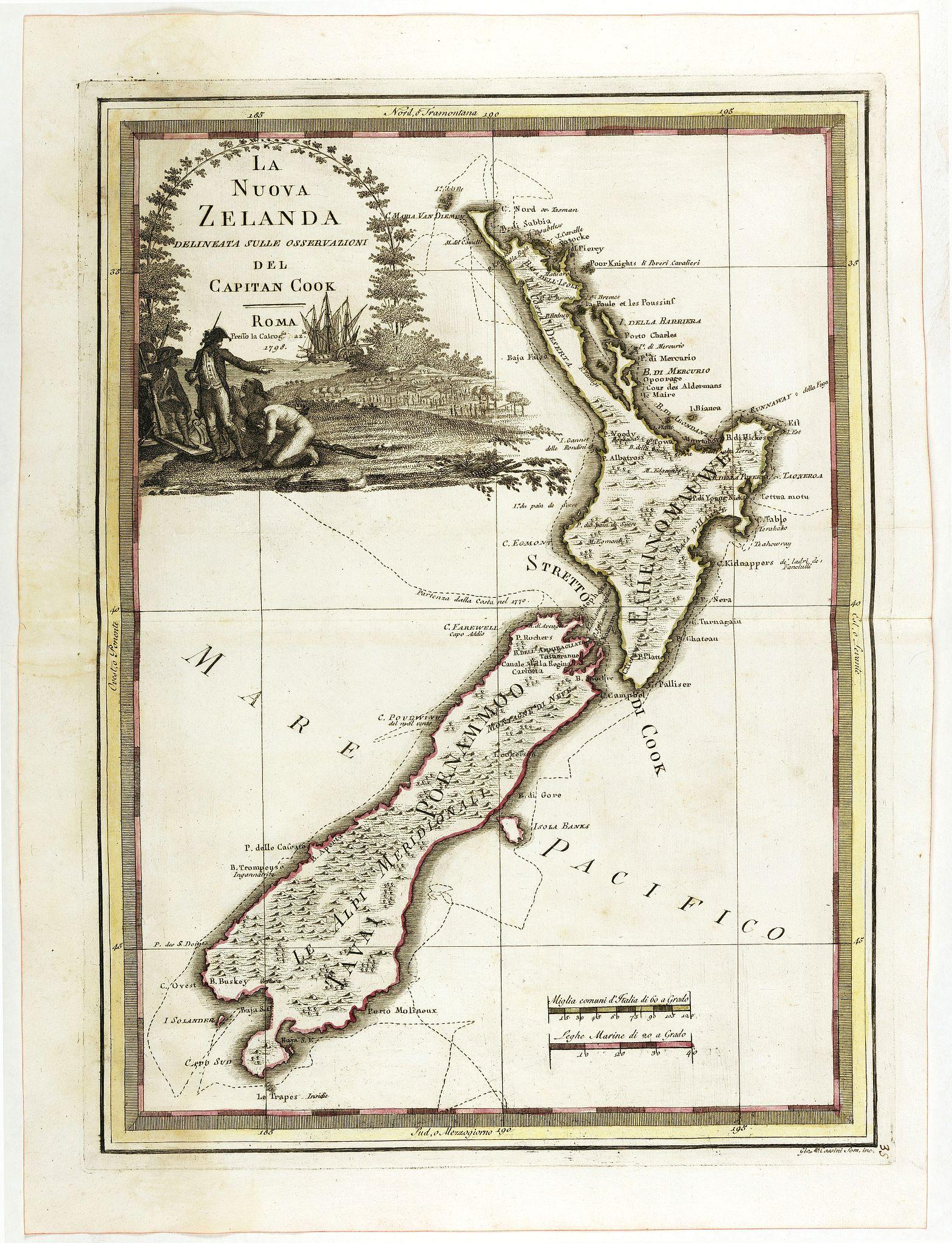 CASSINI, G.M. -  La nuova Zelanda delineate sulle ultima osservazioni del Capitan Cook.