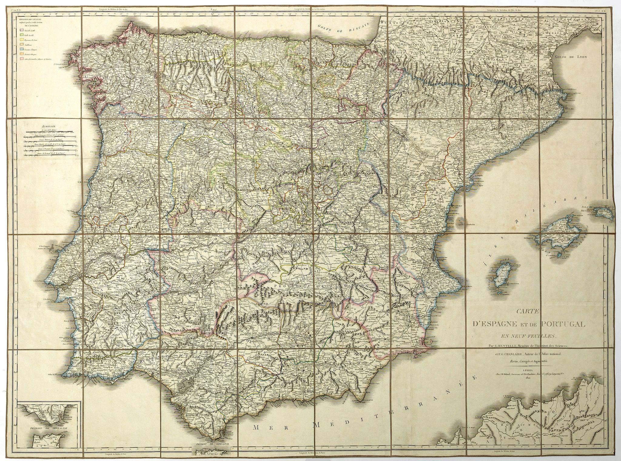 MENTELLE, Edme / DELAVAL, J.B. -  Carte d' Espagne et de Portugal en neuf  feuilles. . .