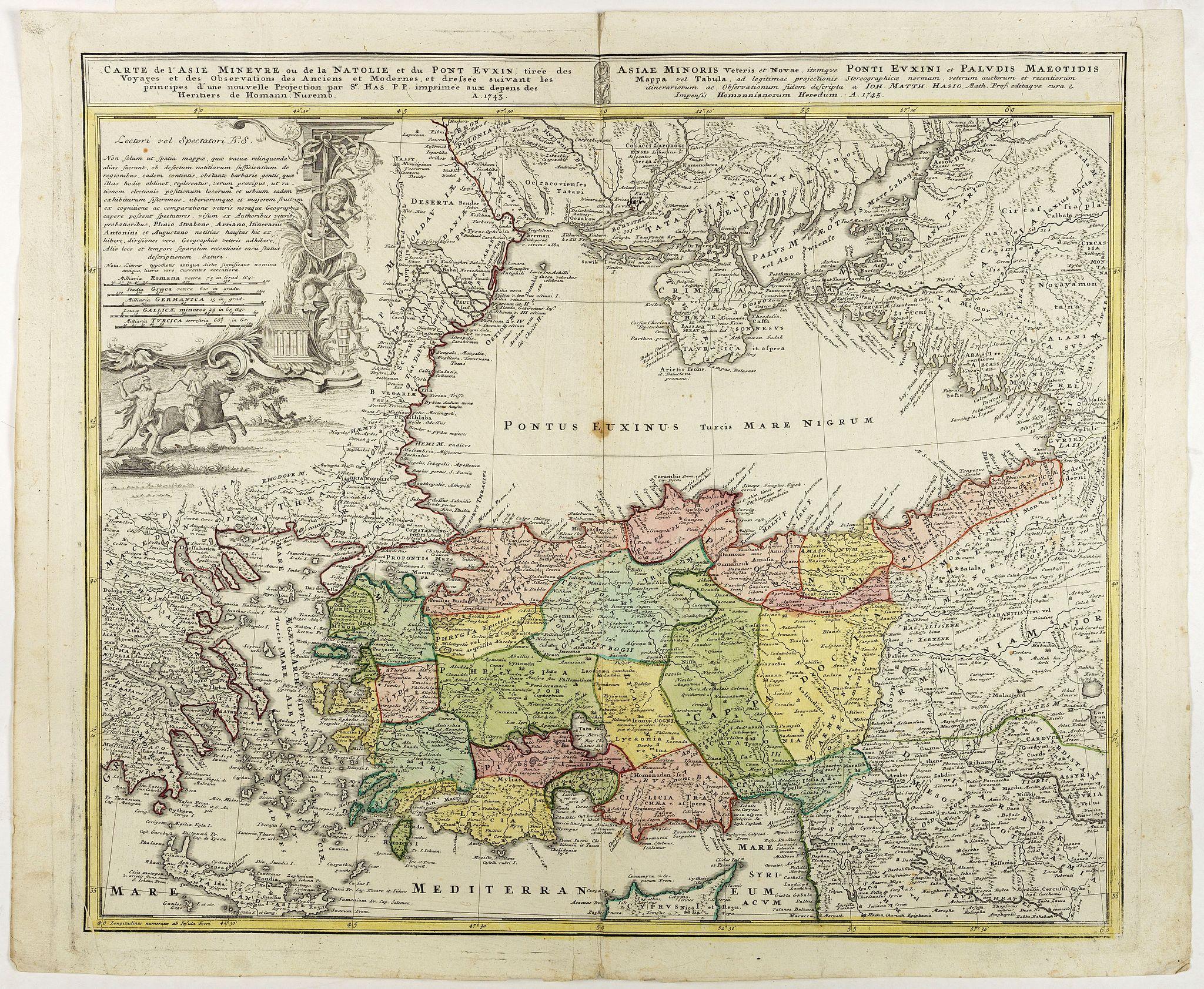 HOMAN HEIRS. -  Carte de l'Asie Minevre ou de la Natolie et du Pont Euxin…