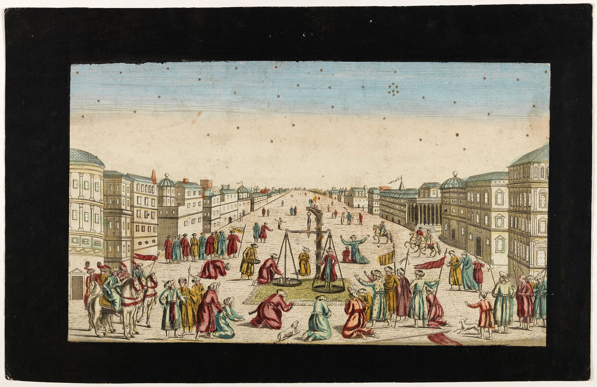 PROBST, G.B. -  Imaginary view of a square with Muslims festival.