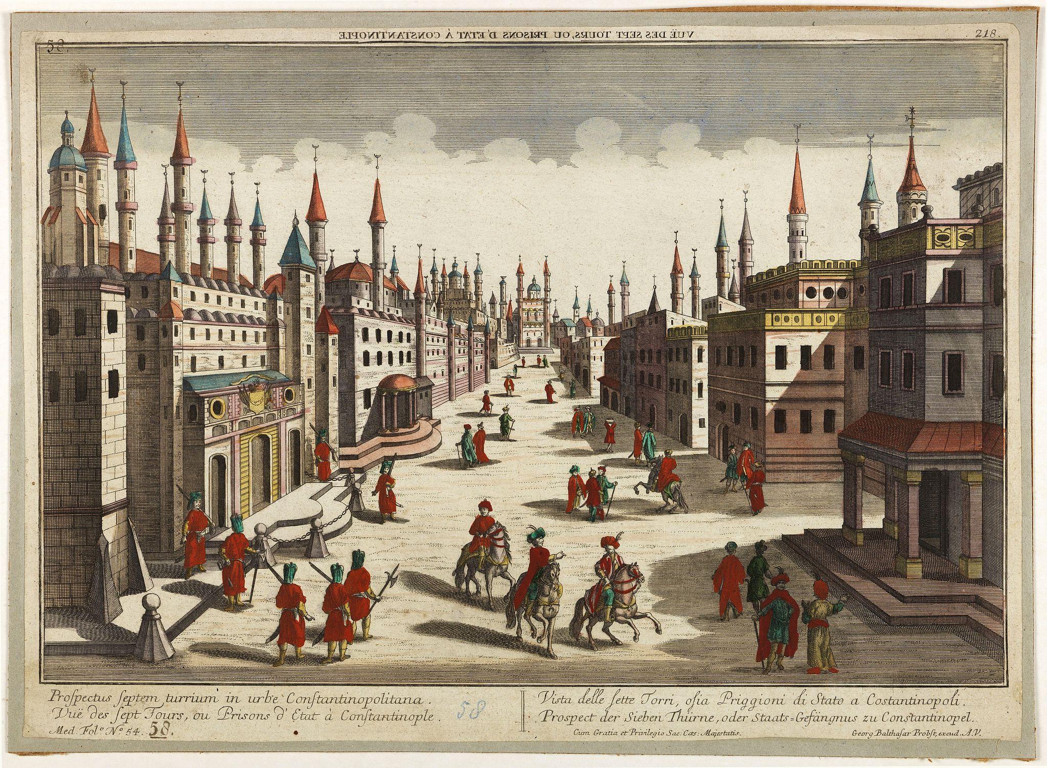 PROBST, G.B. -  Prospectus septem turrium in urbe Constantinopolitana / Vüe des sept Tours ou Prisons d'etat à Constantinople. . .