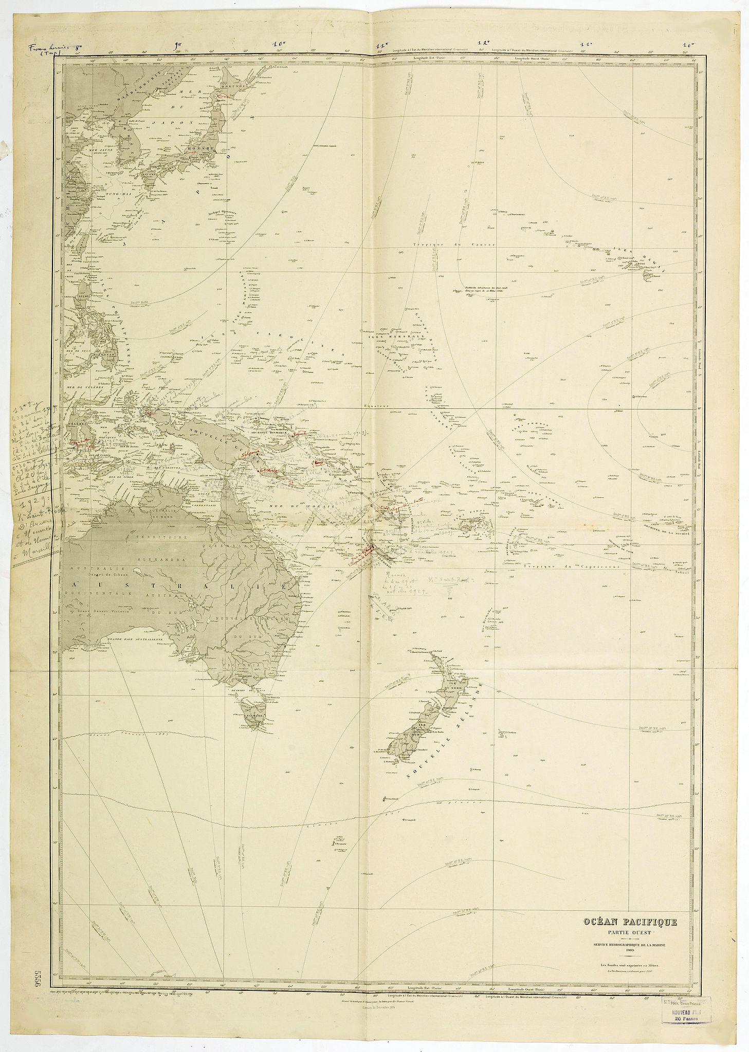 SERVICE HYDROGRAPHIQUE DE LA MARINE. -  Ocean Pacifique Partie Ouest.