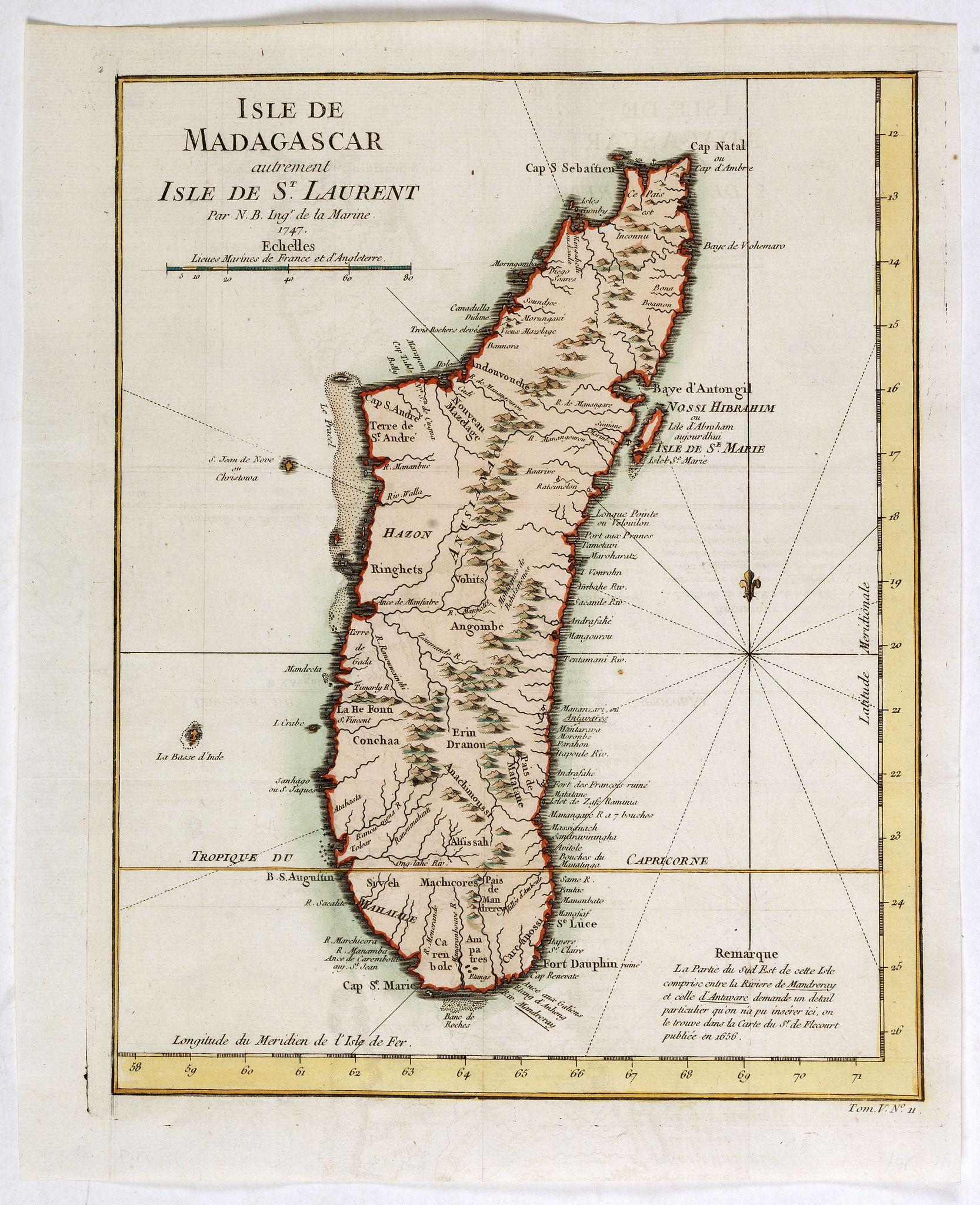 BELLIN, J.N. -  Isle de Madagascar autrement Isle de St. Laurent . . .