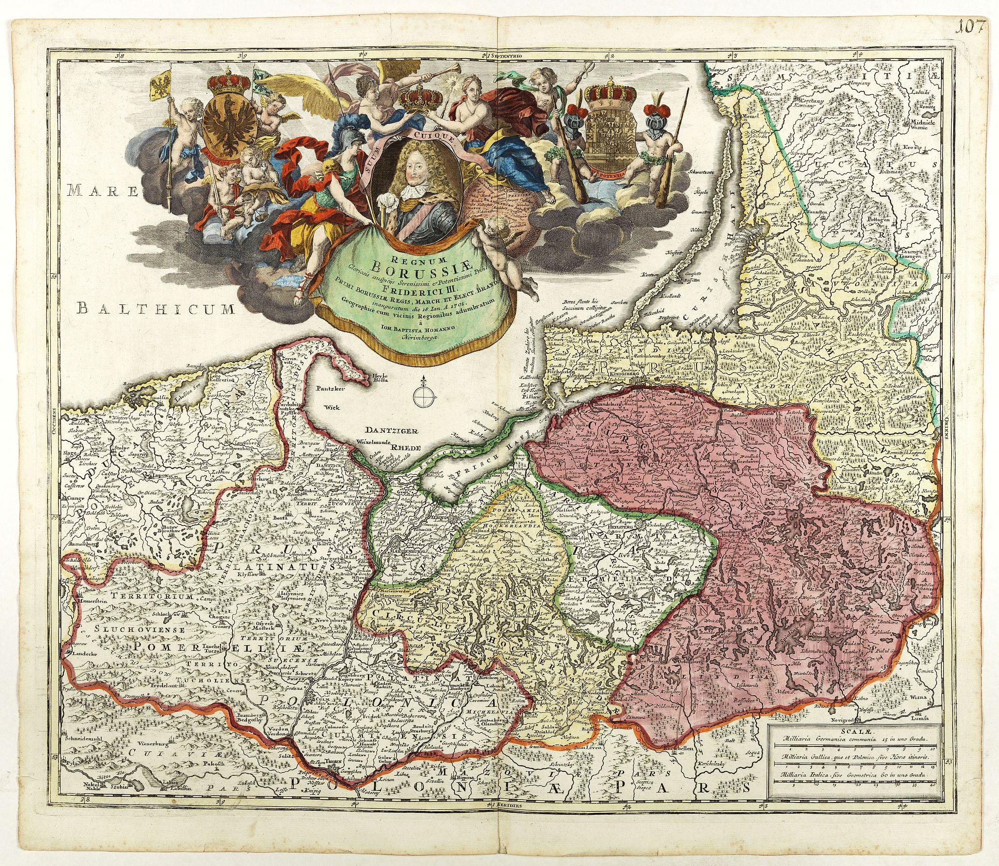 HOMANN, J.B. - Regnum Borussiae gloriosis auspiciis serenissimi et potentissimi princip. Friderici III primi Borussiae regis march. et elect. Brandenburg inauguratum die 18 Jan…1701.