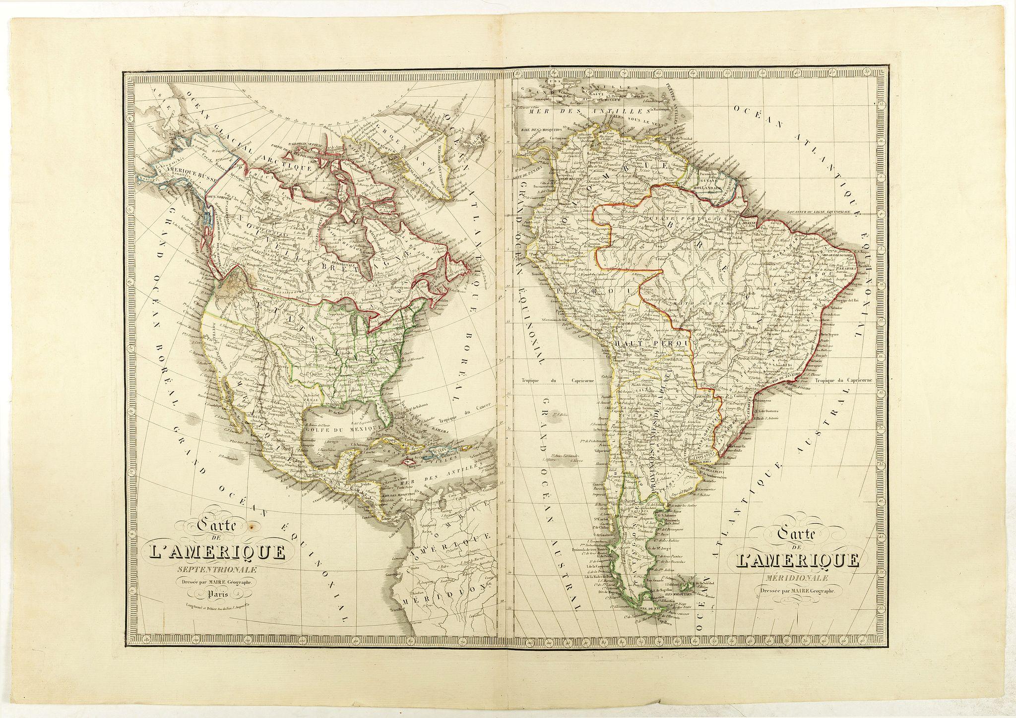 MAIRE, N. -  Carte de l'Amerique Septentrionale . . . / Carte de l'Amerique Méridionale . ..