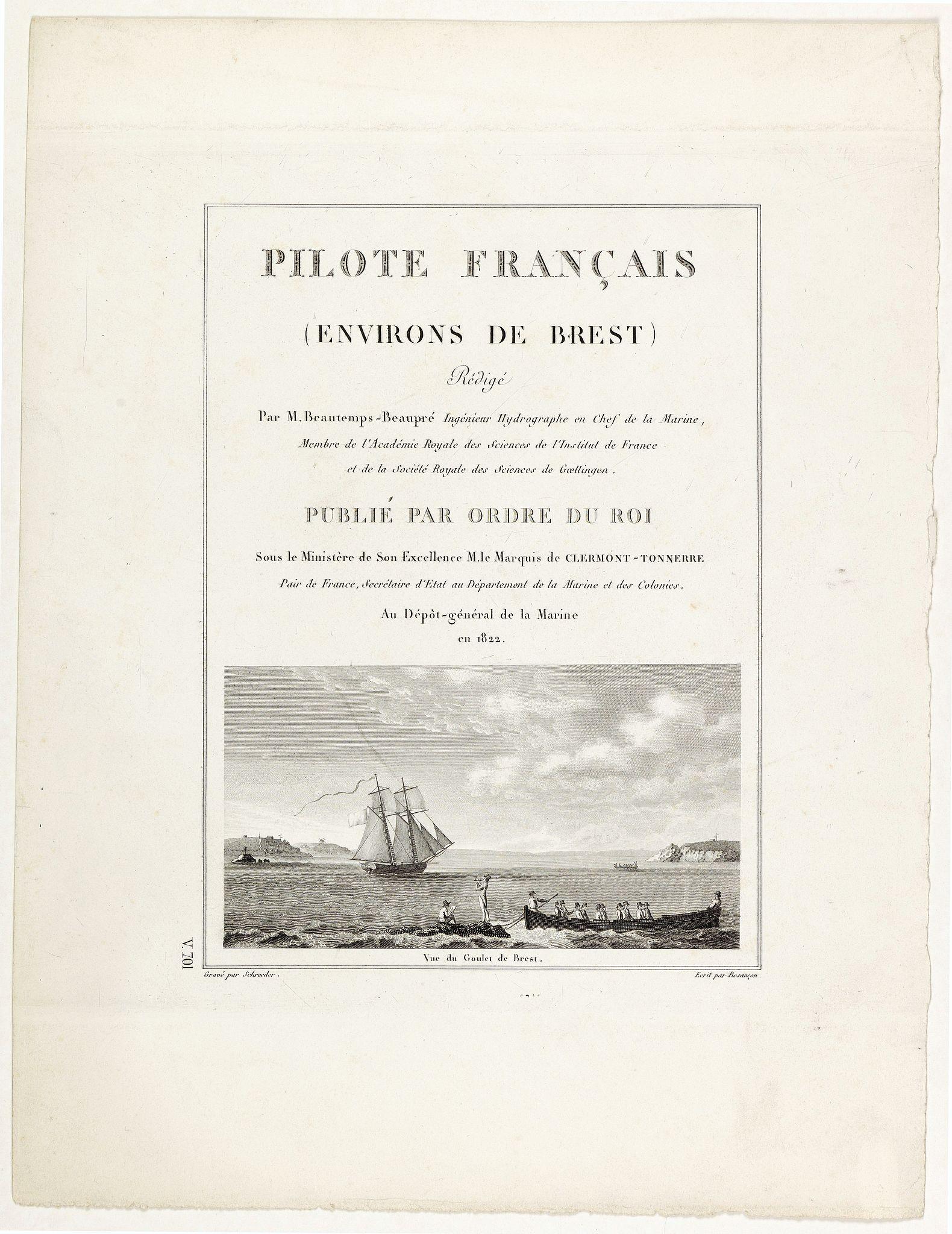 SCHROEDER. -  [Title page] Pilote Français (environs de Brest) rédigé par M. Beaulieu-Beaupré . . .