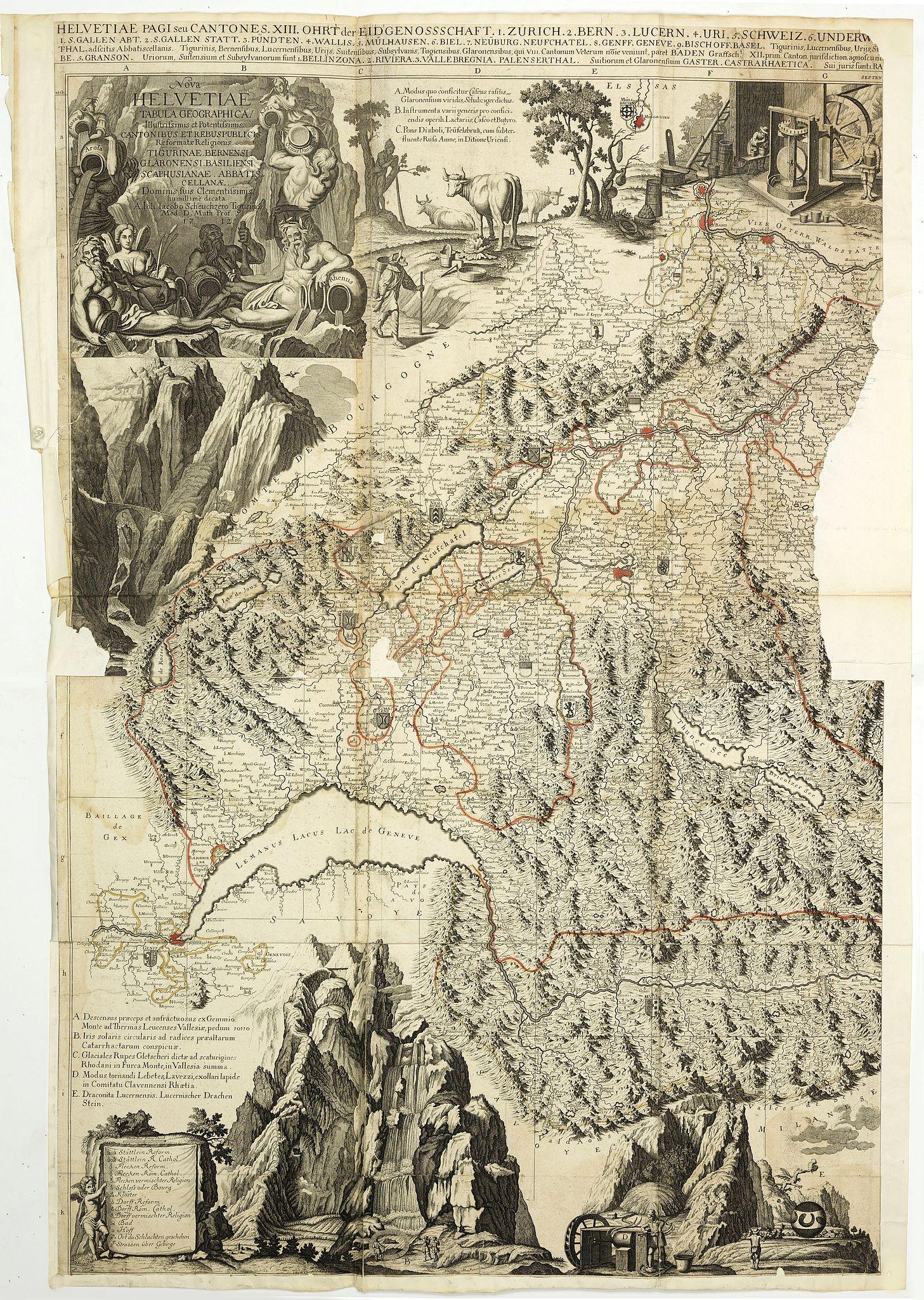 VISSCHER, N. / SCHENCK,P/ SCHEUCHZER,J.J. -  Nova Helvetiae tabula geographica . . .