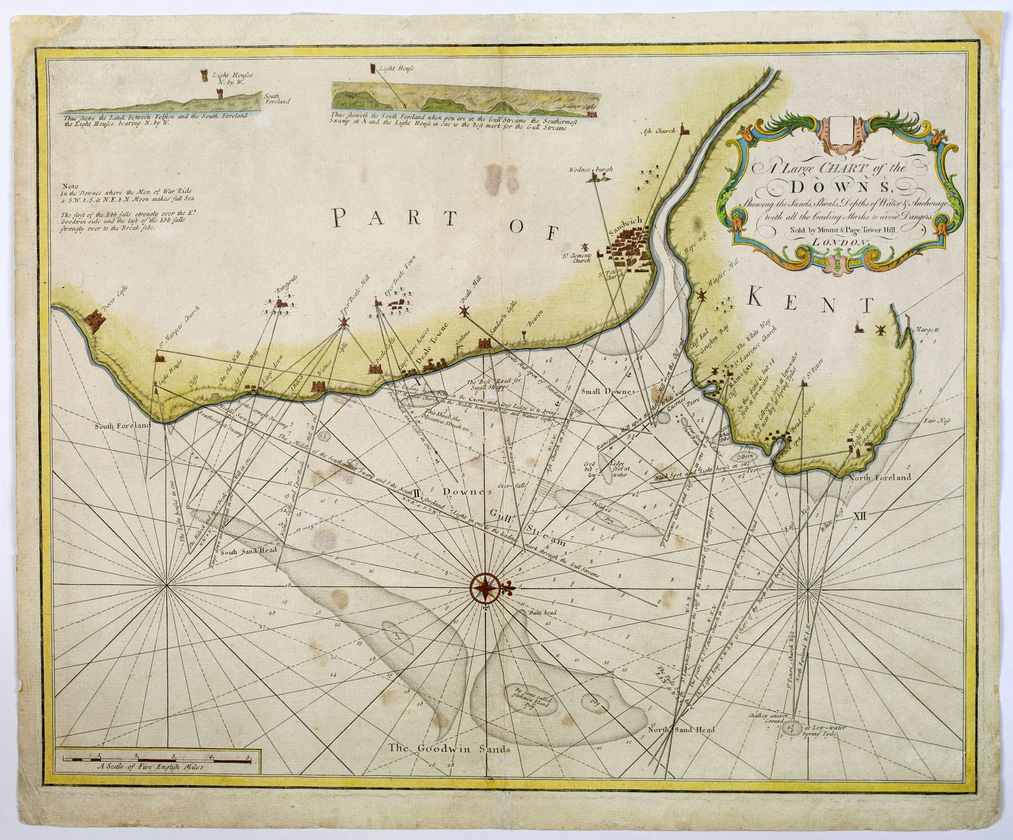 MOUNT & PAGE., A Large Chart of the Downs, Shewing the Sands, Shoals, Depths of Water. . ., antique map, old maps