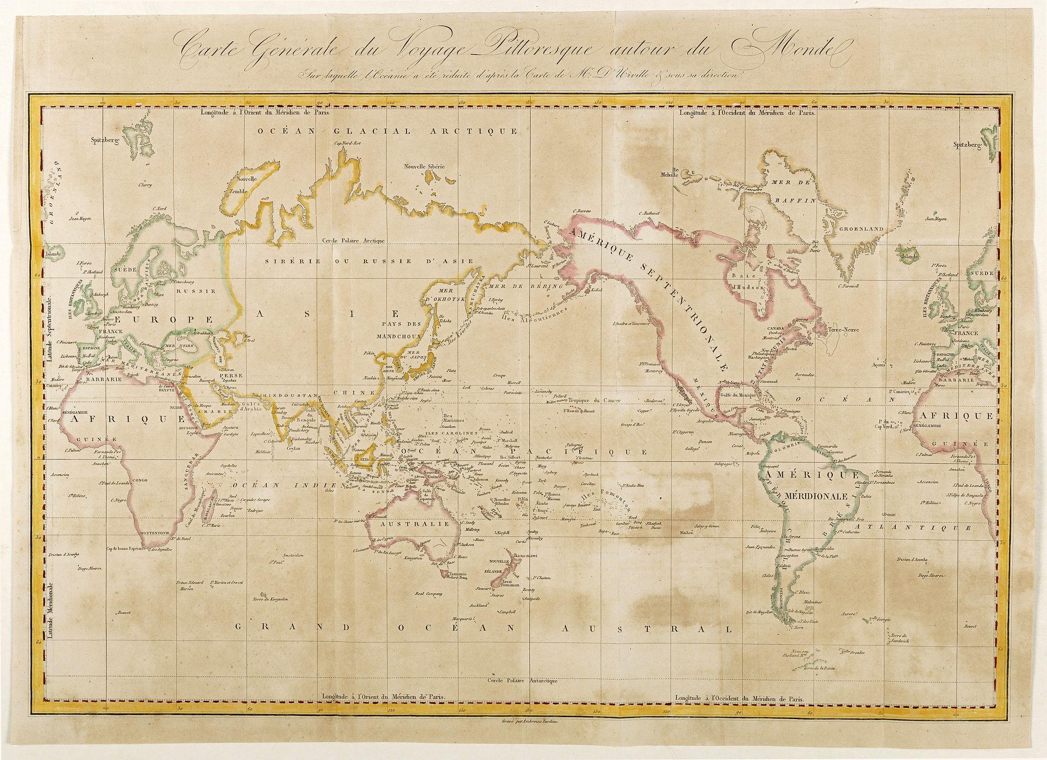DUMONT D'URVILLE, J. (after) -  Carte Générale de Voyage Pittoresque Autour du Monde.
