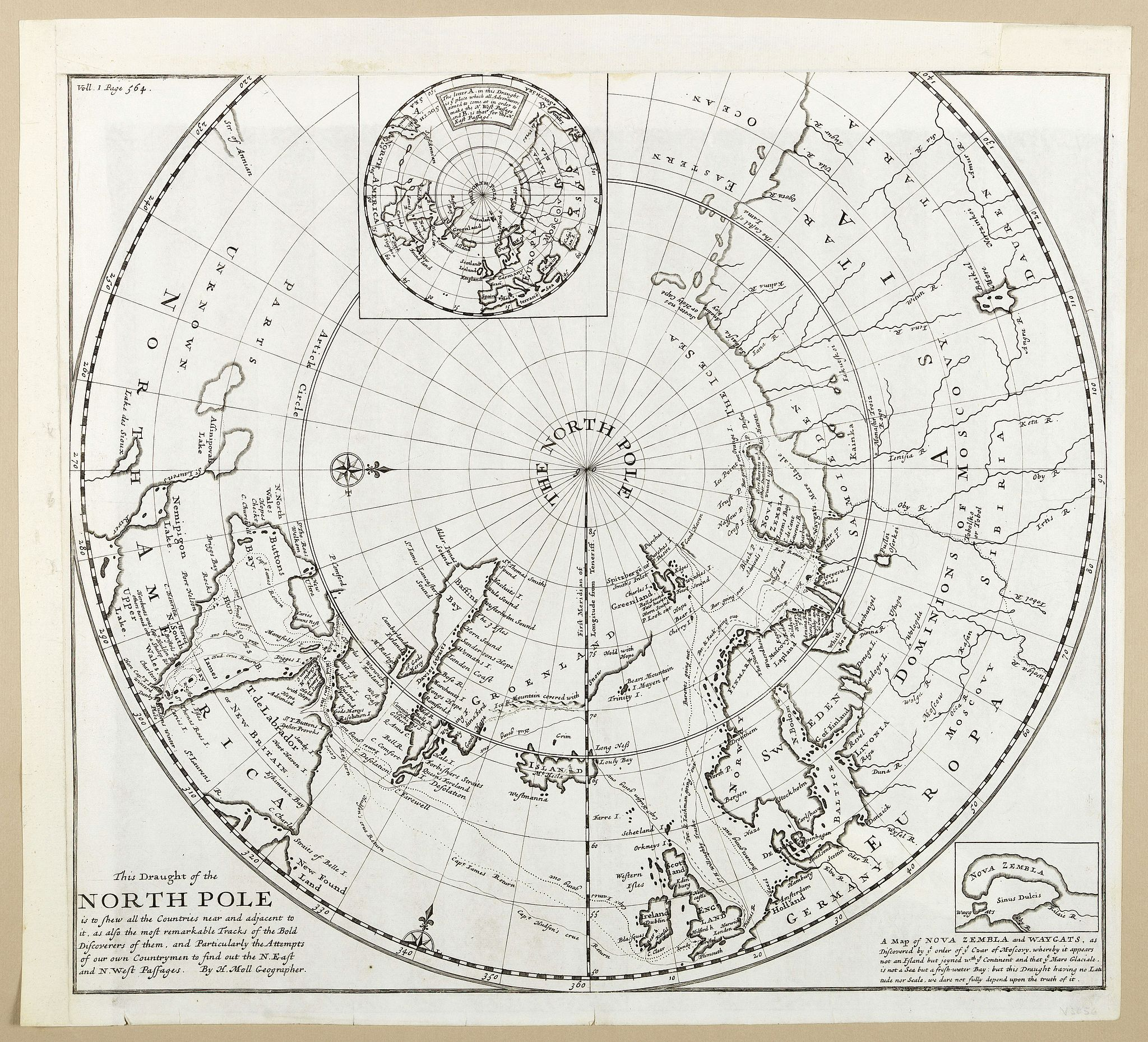 MOLL, H.,  This Draught of the North Pole is to show all the Countries near and adjacent to it . . ., antique map, old maps