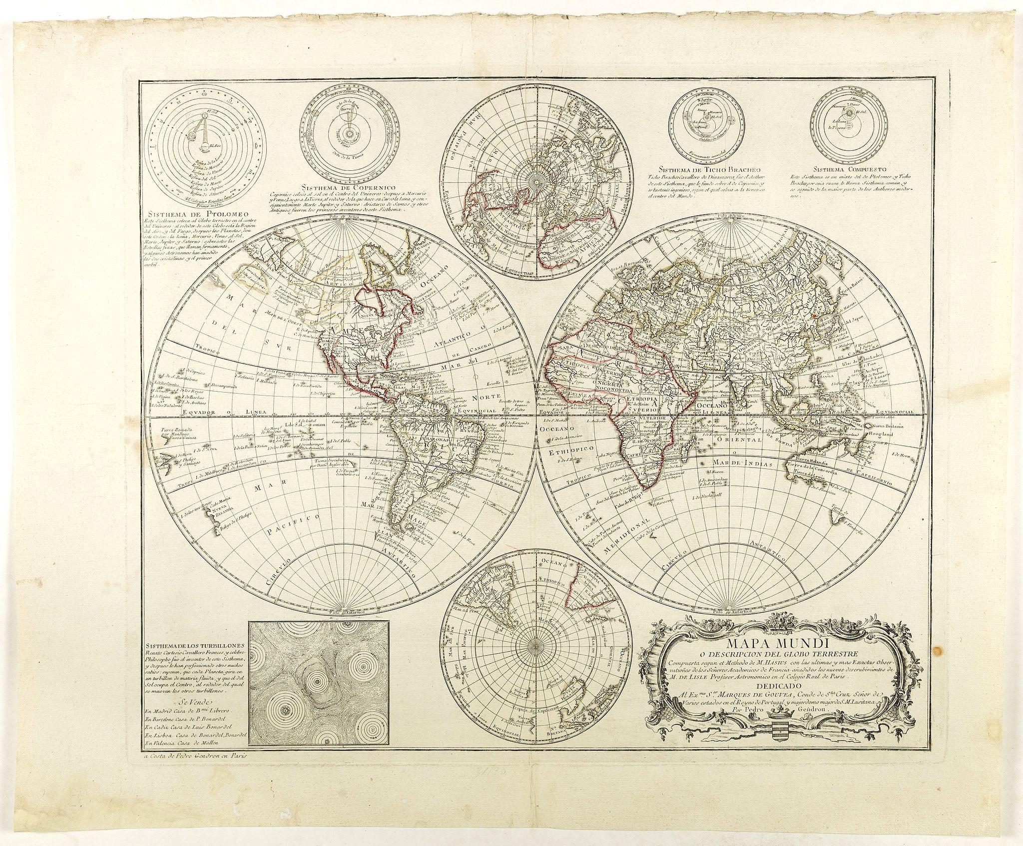 GENDRON, P. -  Mapa Mundi O Description Del Globo Terrestre Compuesta segun las ultimas y nuevas oserationes de las Academias, y de Parsi y de Londres . . .