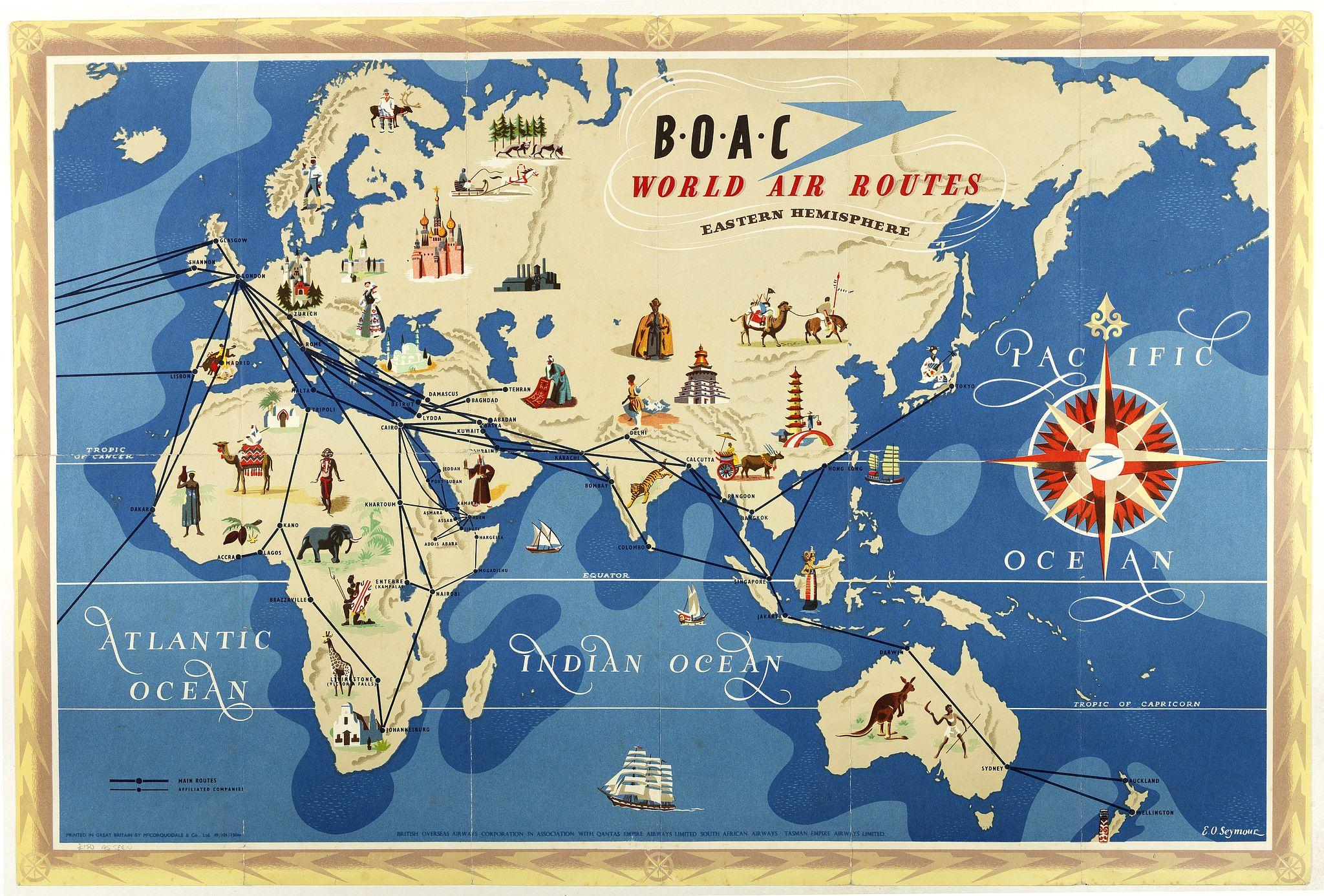 SEYMOUR, E. -  World Air Routes: Eastern Hemisphere / B.O.A.C. - World Air Routes: Western Hemisphere.