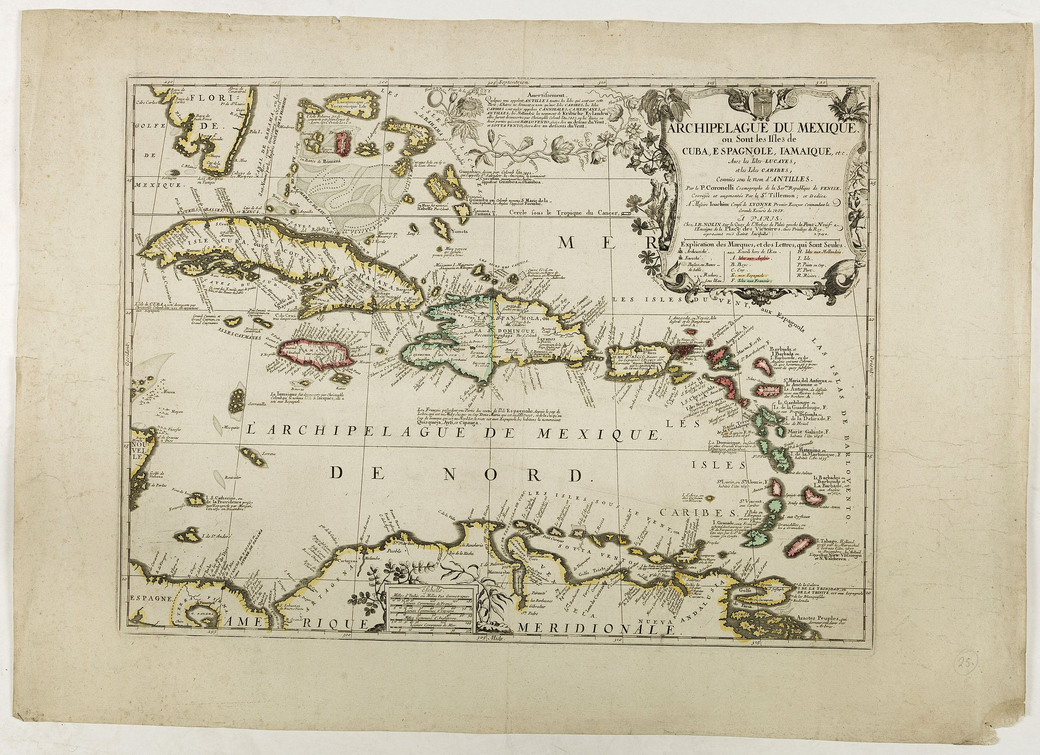 NOLIN, J.B. / CORONELLI, P. -  Archipelague du Mexique ou sont les Isles de Cuba..