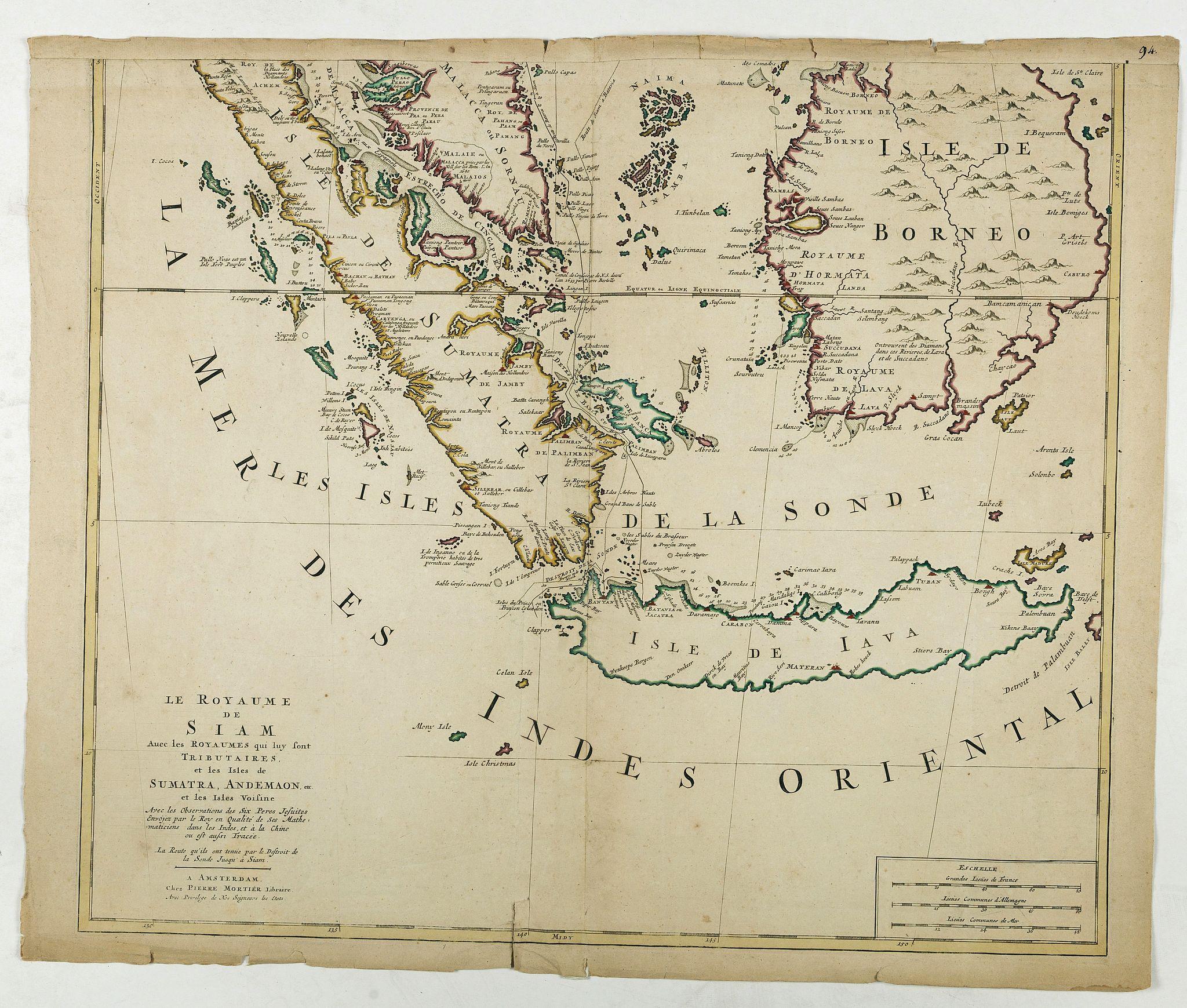 MORTIER, P. -  Le Royaume de Siam avec les Royaumes. . .