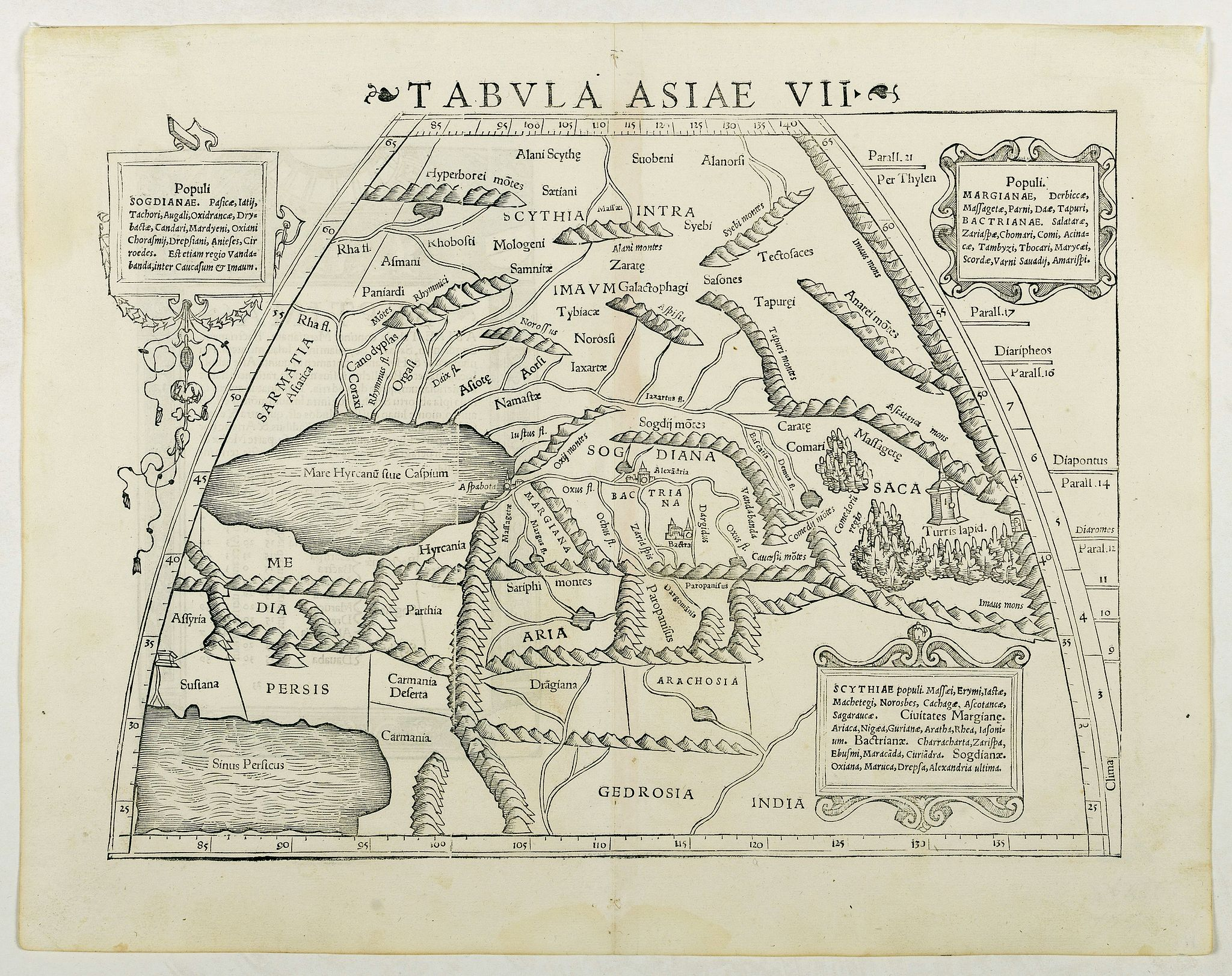 MÜNSTER, S.,  Tabula Asiae VII (Central Asia and Russia), antique map, old maps