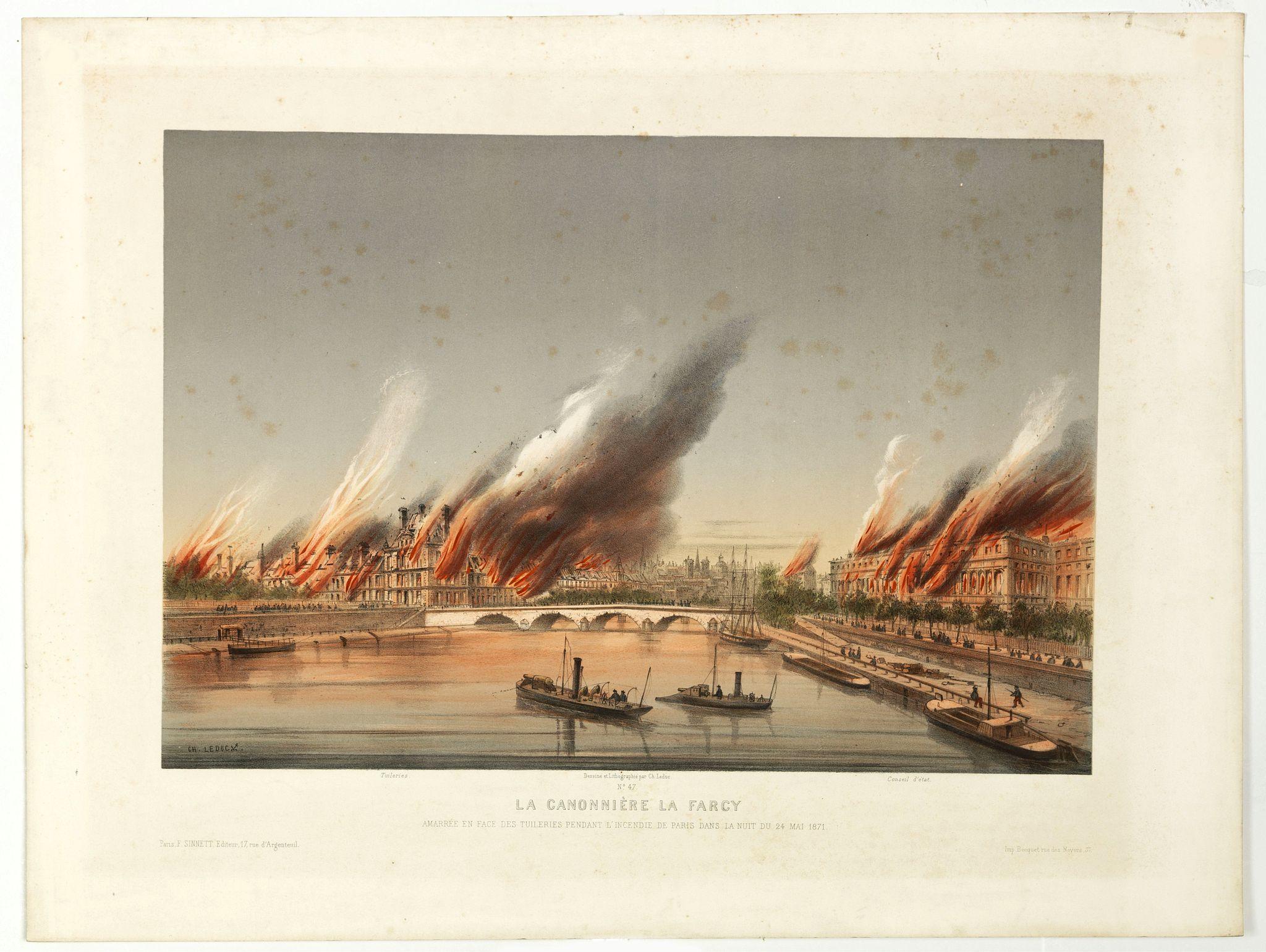 LEDUC, Ch. - La Canonnière la Farcy amarrée en face des Tuileries pendante l