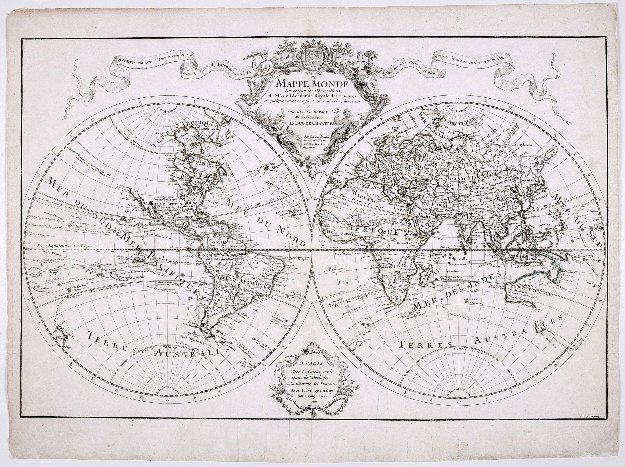 DE L'ISLE, G. -  Mappe-Monde dressée sur les observations de M.rs. De L'Academie Royale des Sciences ..