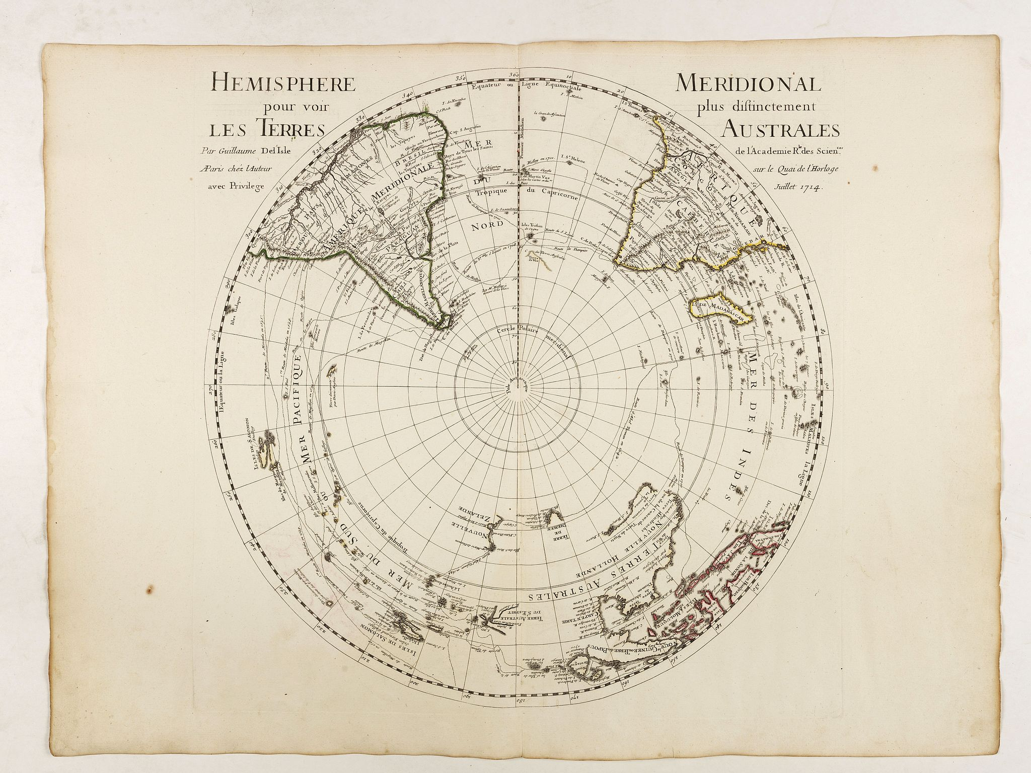 DE L'ISLE, G. -  Hemisphere meridional pour voir plus distinctement les terres australes. . .