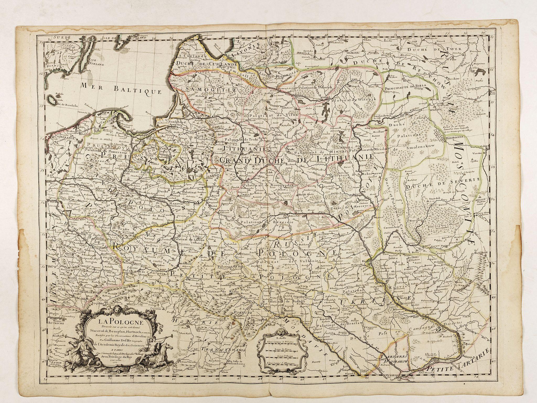 DE L'ISLE, G. -  La Pologne Dressée sur ce qu'en ot donné Starovolsk, Beauplan, Hartnoch. . .