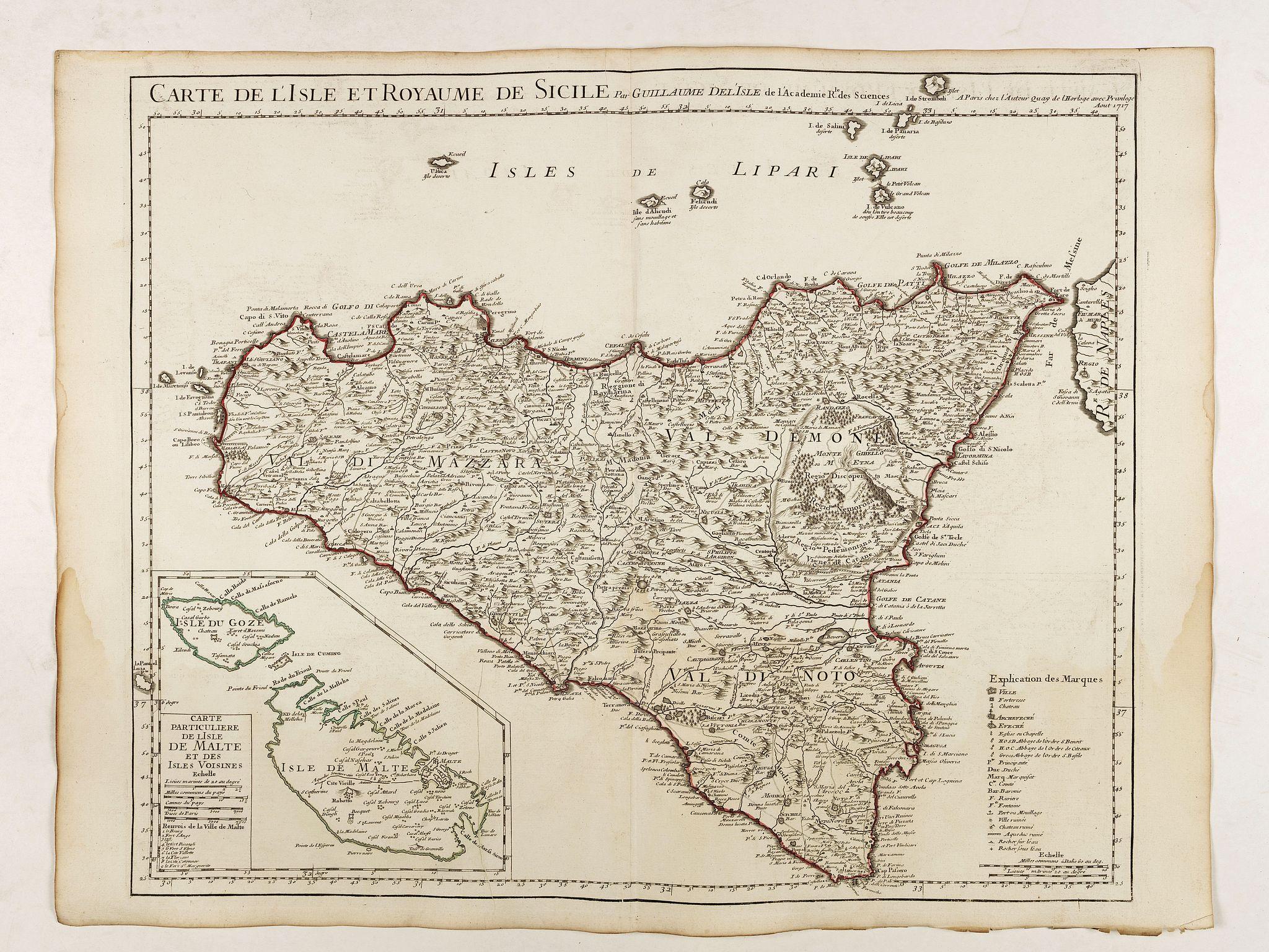 DE L'ISLE, G. -  Carte de l'Isle et Royaume de Sicile . . .