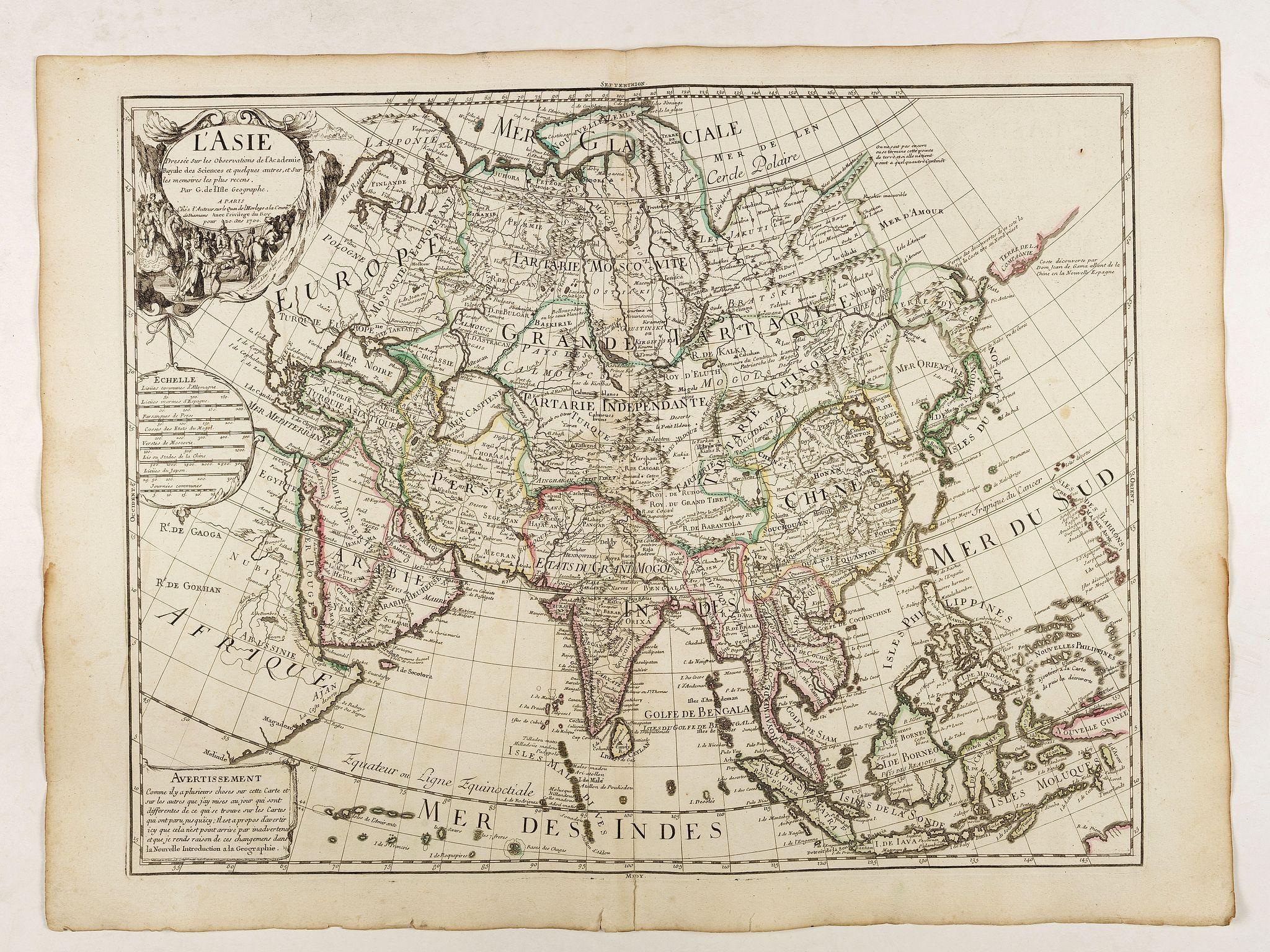 DELISLE, G. -  Carte de l'Asie dresse´e sur les observations de l'Academie Royale des Sciences . . .