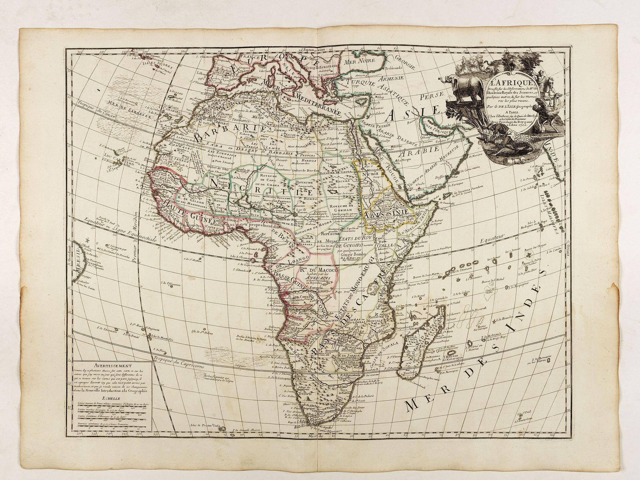 De L'ISLE, G. -  L'Afrique dressée sur les observations de Mr de l'Académie Royale des Sciences. . .