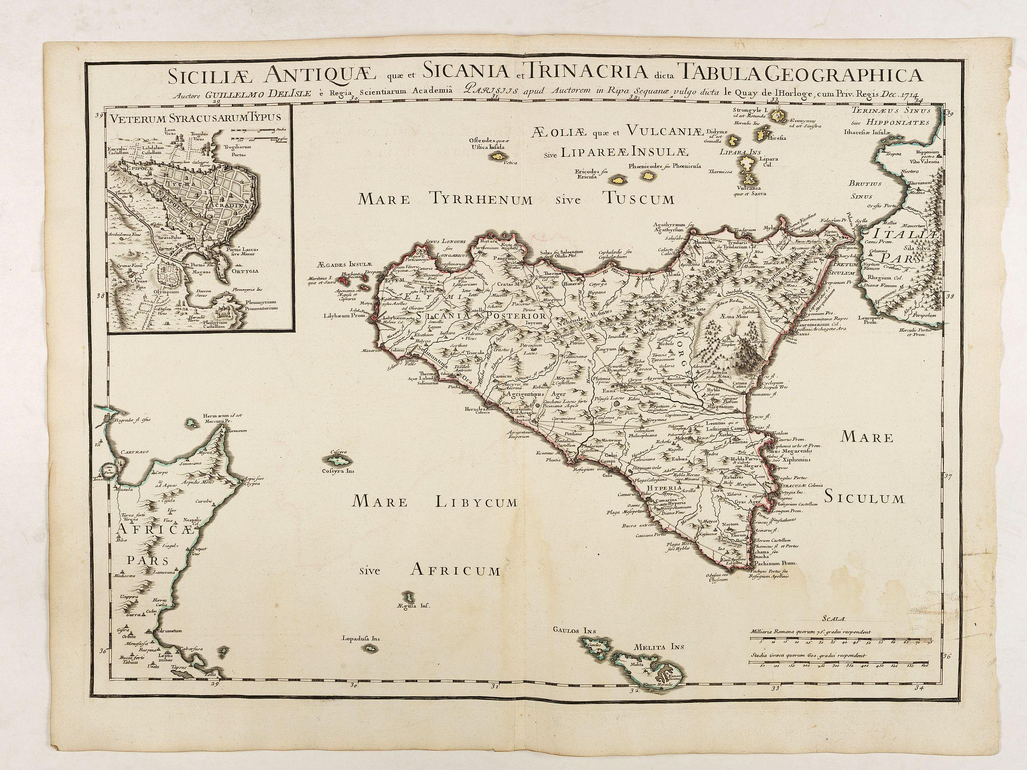 DE LISLE, G. -  Siciliae Antiquae quae et Sicania et Trinacria dicta tabula geographica.