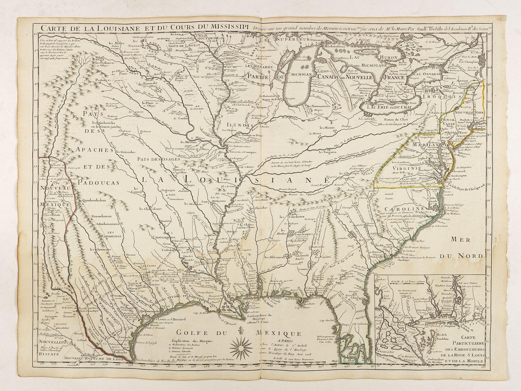 De L'ISLE, G. -  Carte de la Louisiane et du cours du Mississipi.
