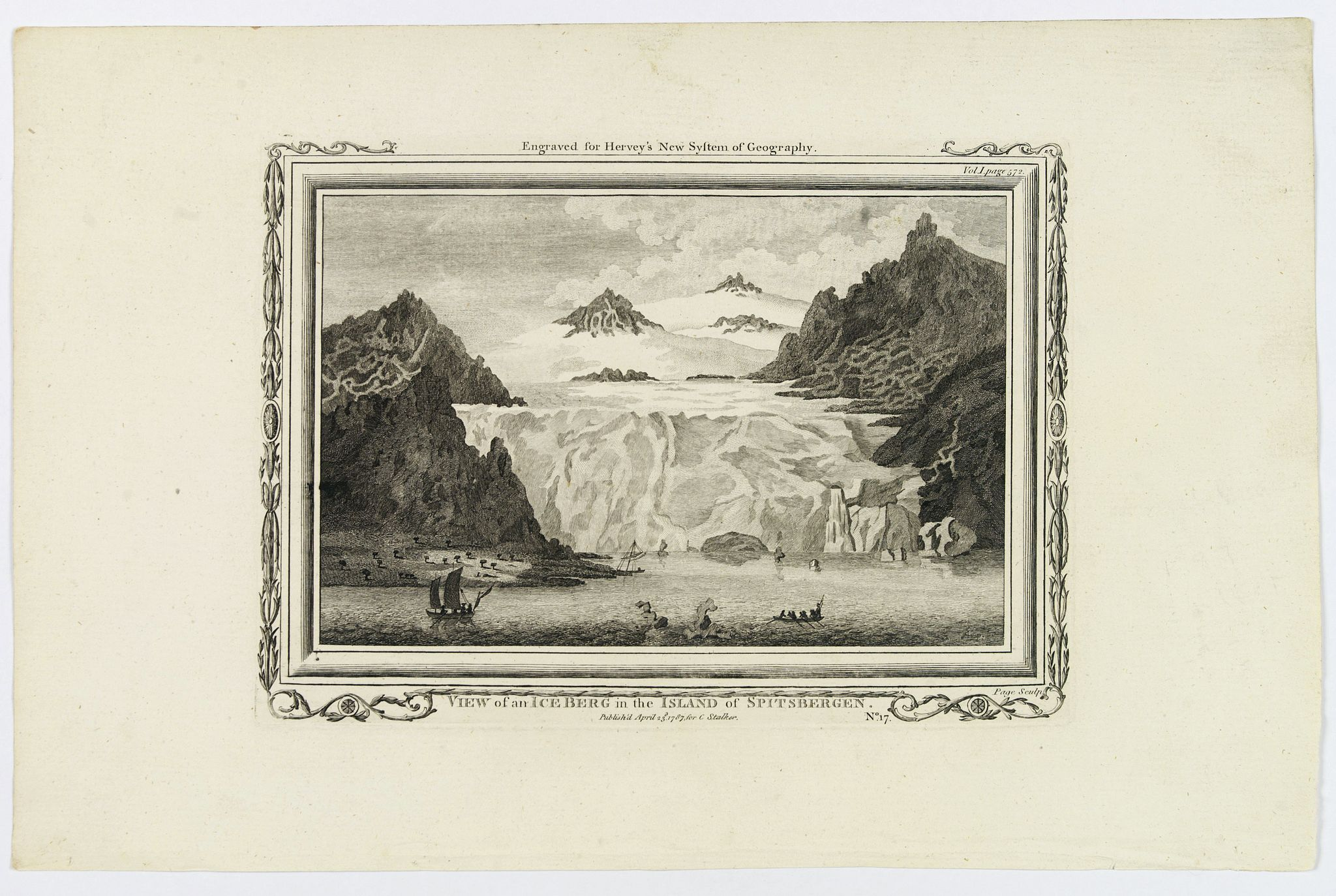 STALKER, C., View of an Iceberg in the Island of Spitsbergen., antique map, old maps