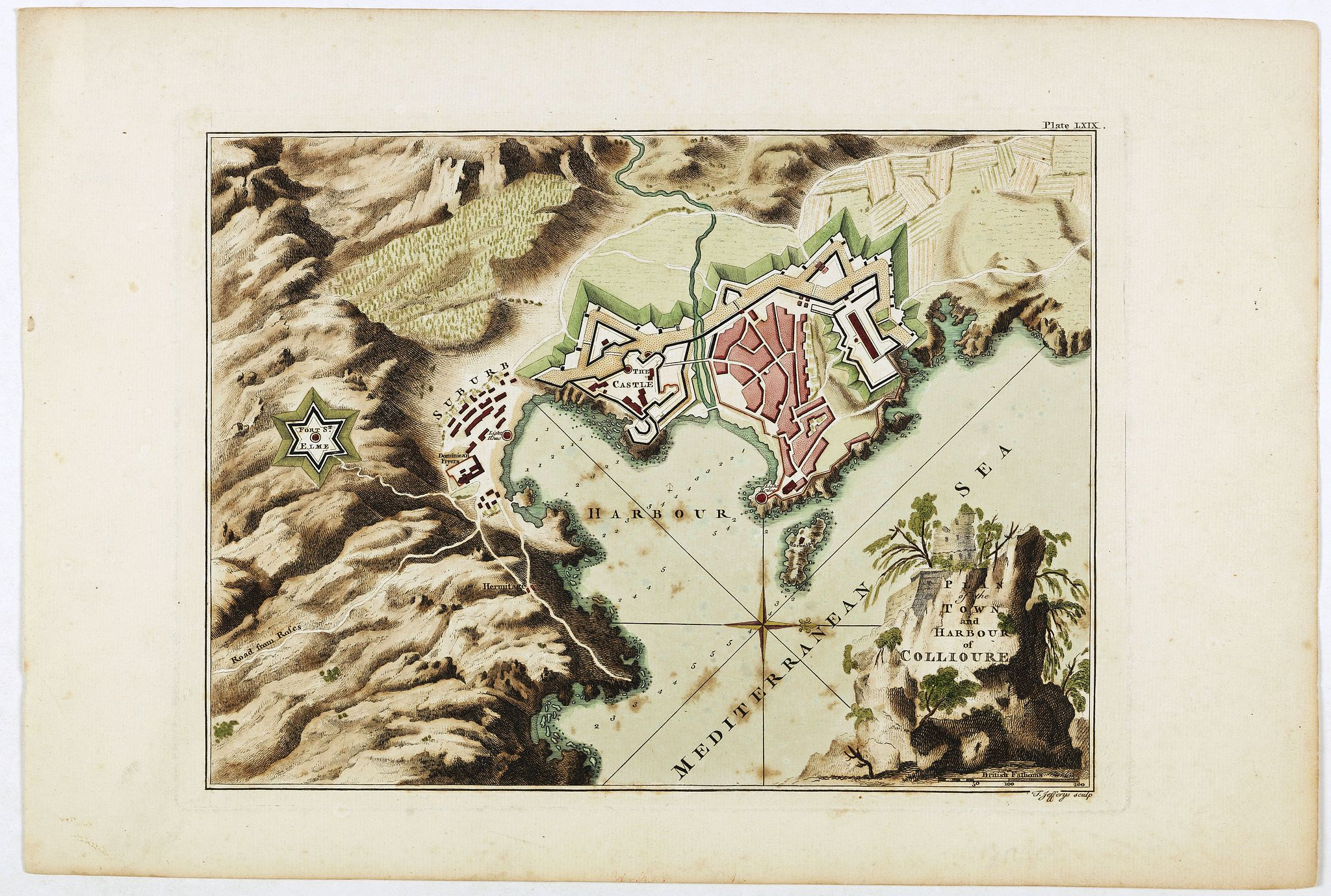 JEFFERYS, J. -  Plan of the town and harbour of Collioure.