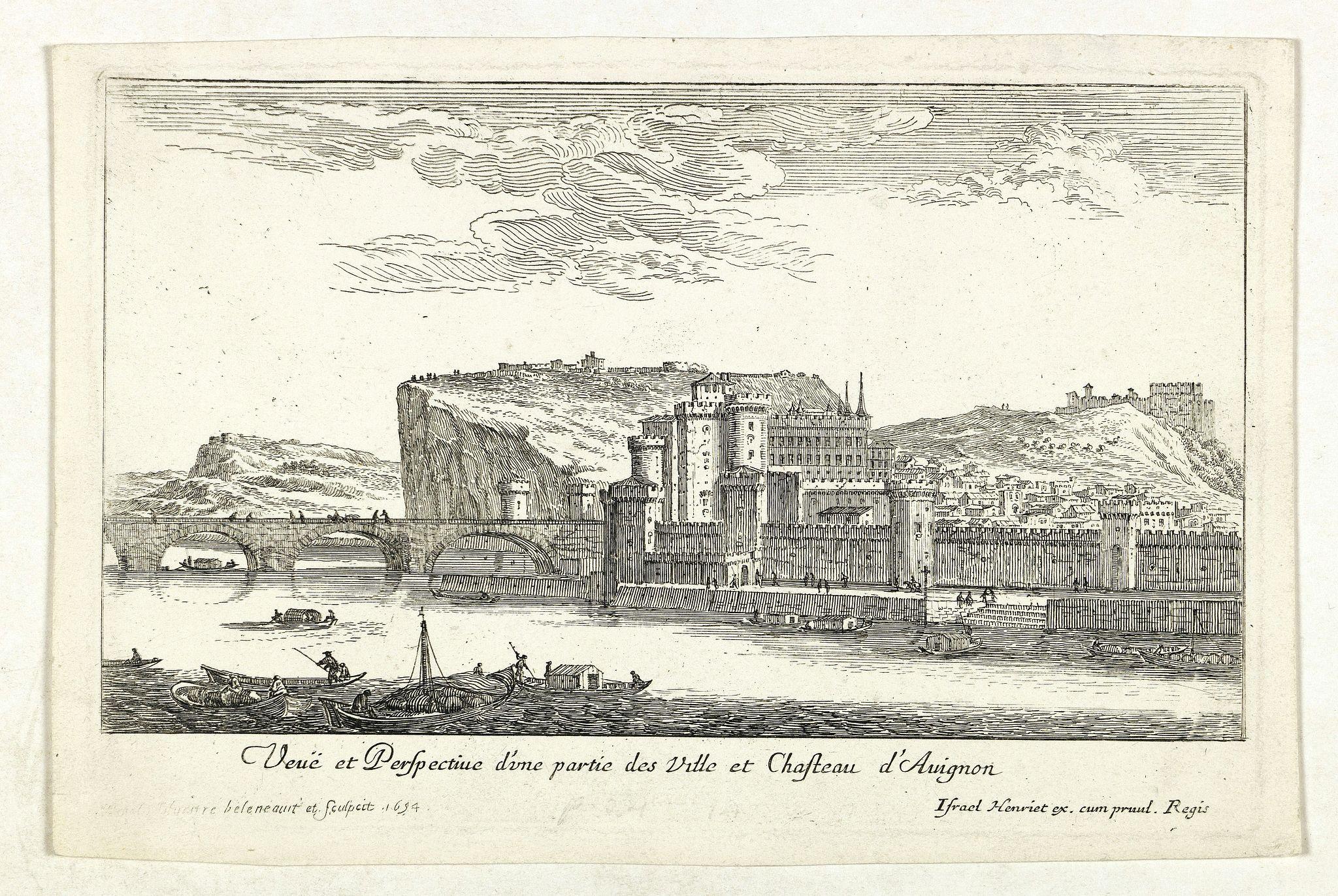 ISRAEL, S. -  Veuë et Perspective d'une partie des Ville et Chasteau d'Avignon.