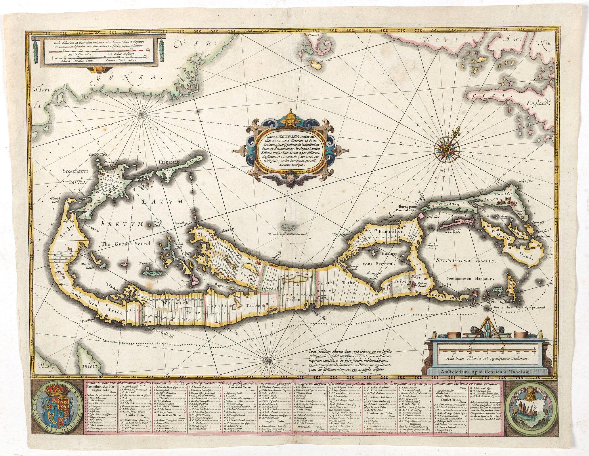 HONDIUS,H. -  Mappa Aestivarum Insularum, alias Barmudas..