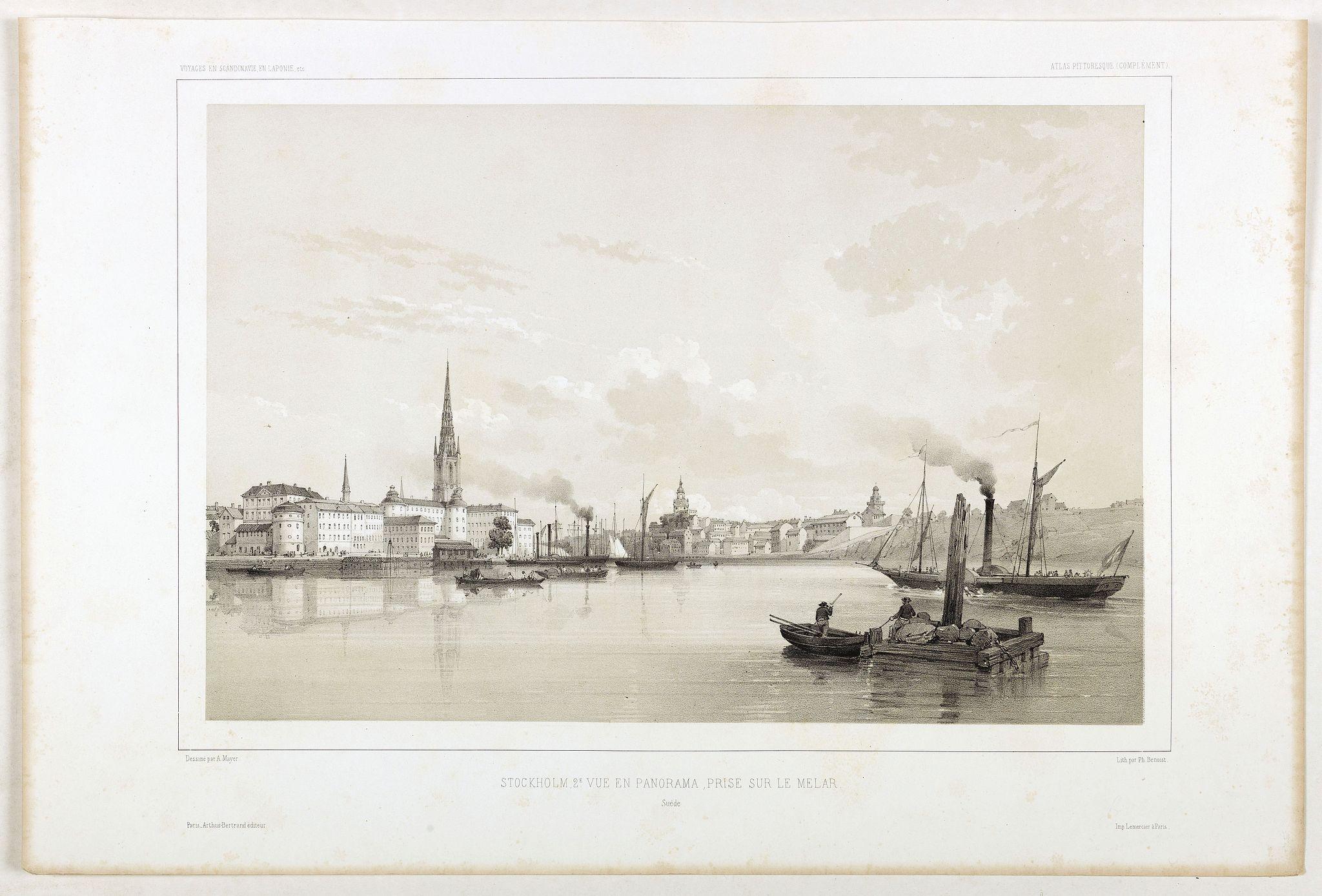 BERTRAND, Arthus. -  Stockholm, 2e vue en panorama, prise sur le Velar.