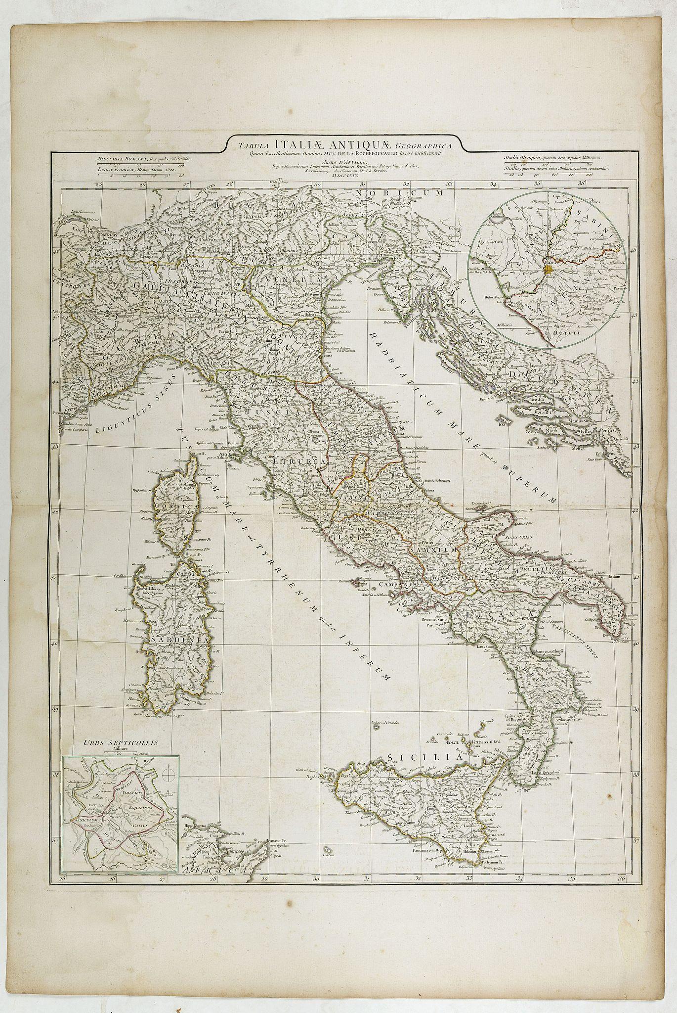 D'ANVILLE, J-B-B. -  Tabula Italiae Antiquae. . .