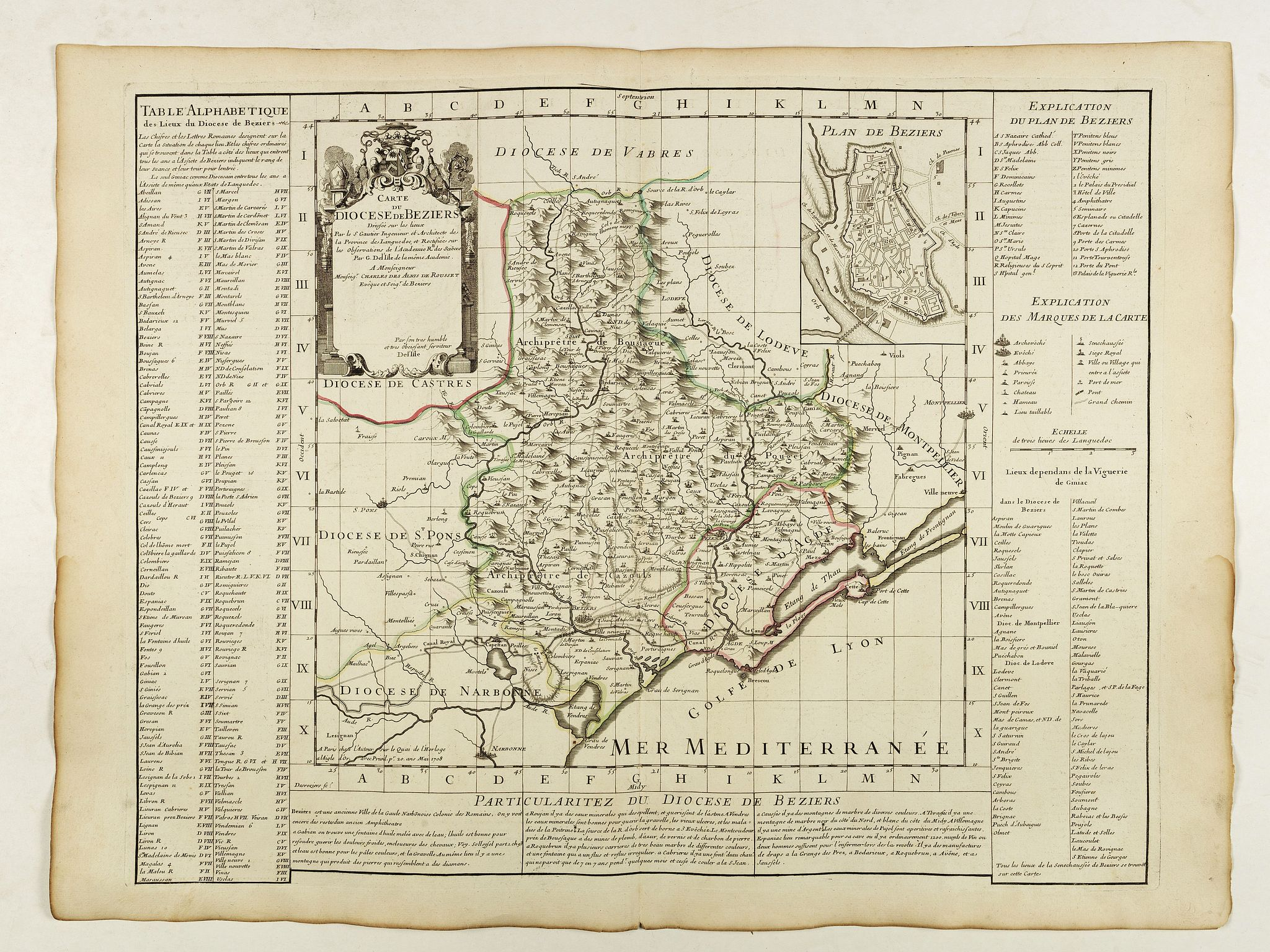 DELISLE, G. -  Carte du Diocese de Beziers . . .