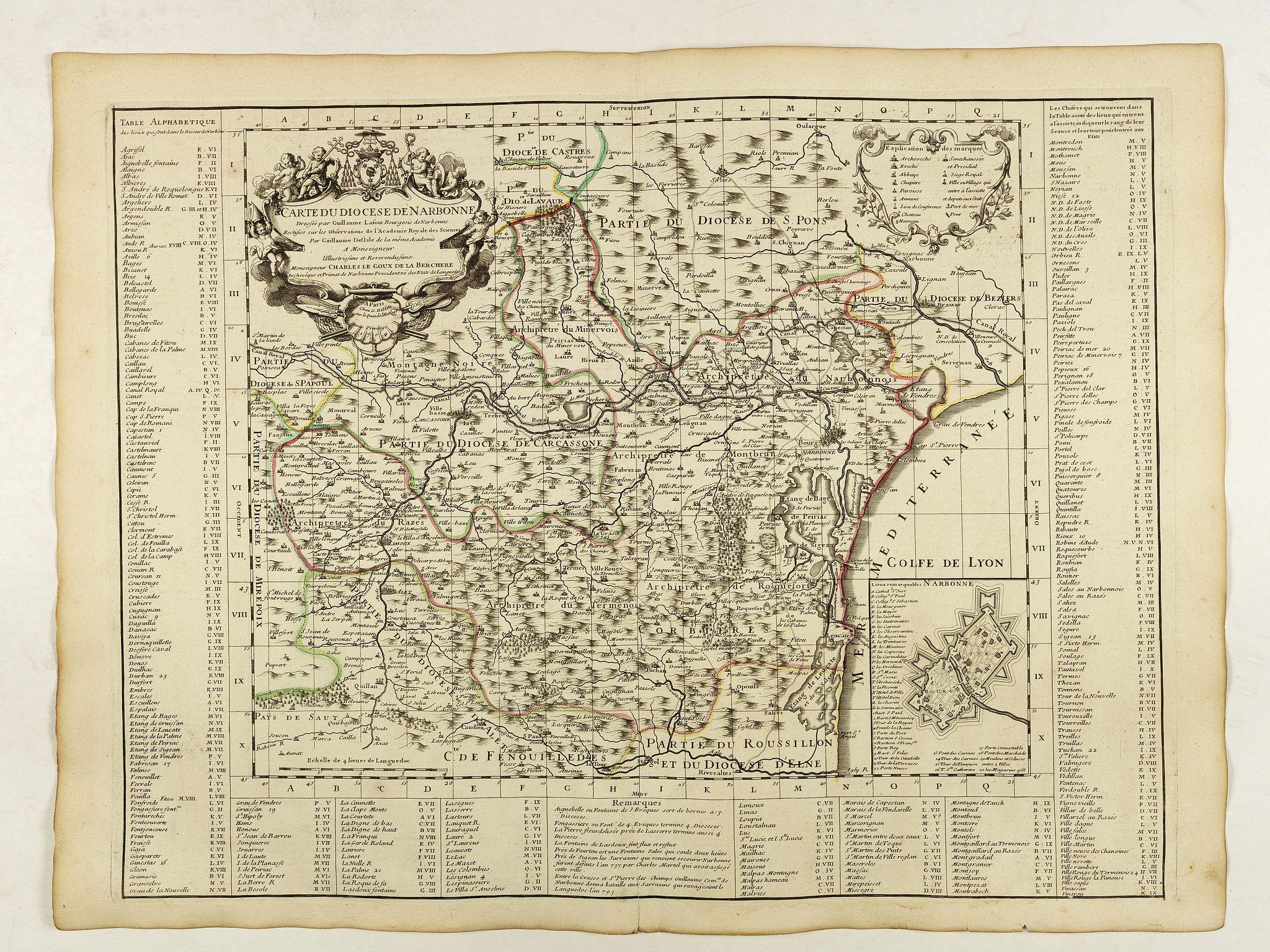 DELISLE, G. -  Carte du Diocese de Narbonne.